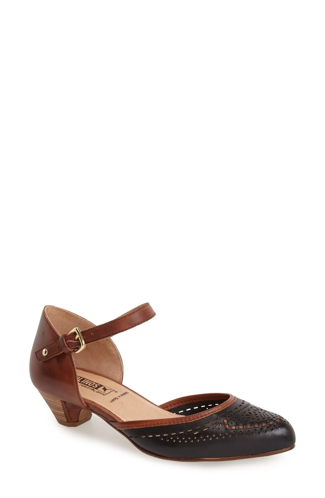 'Elba' Perforated Leather Ankle Strap Sandal,                             Main thumbnail 1, color,                             Black Leather