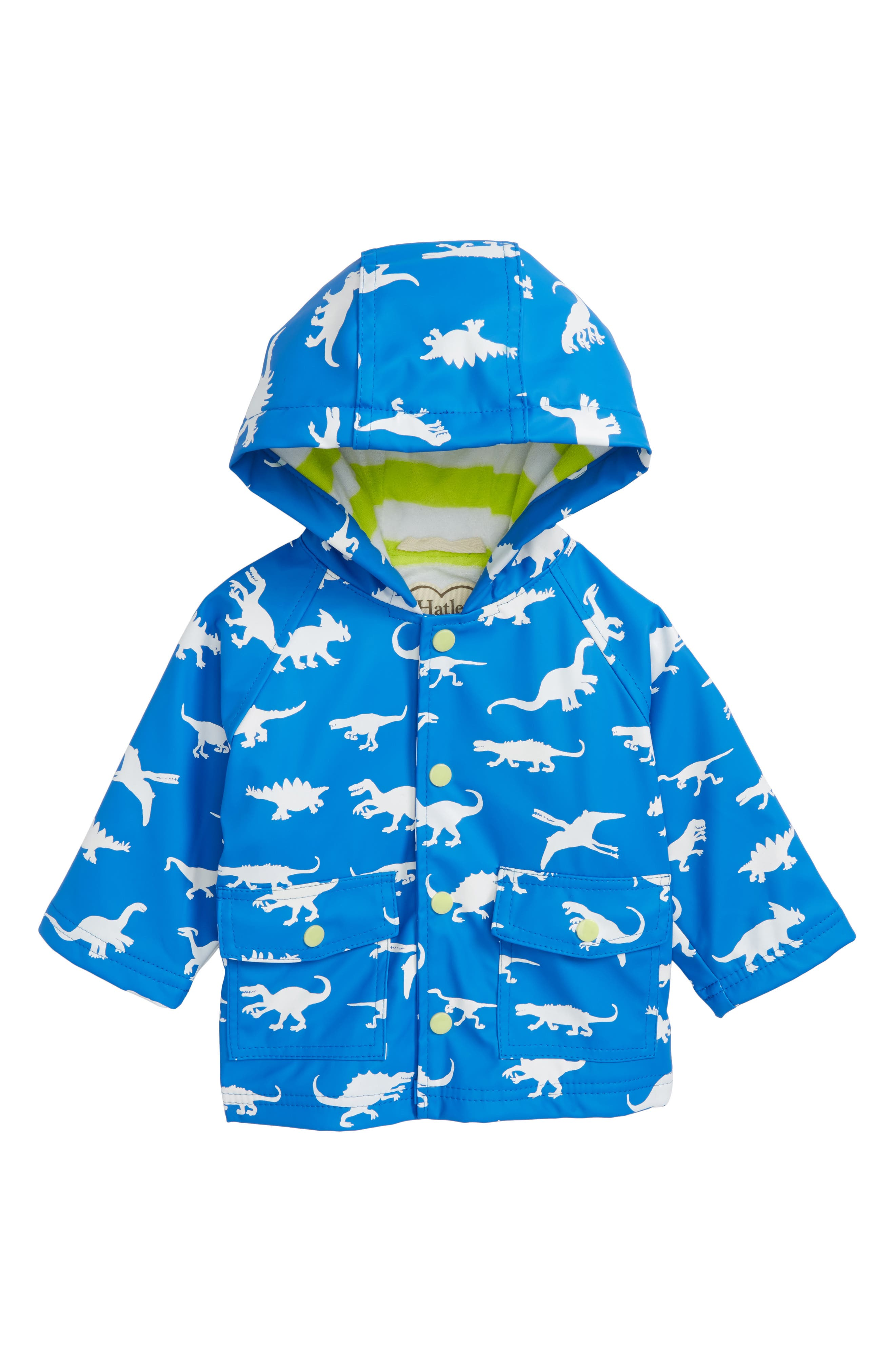 Main Image - Hatley Dinosaur Menagerie Color Changing Hooded Raincoat (Baby Boys)