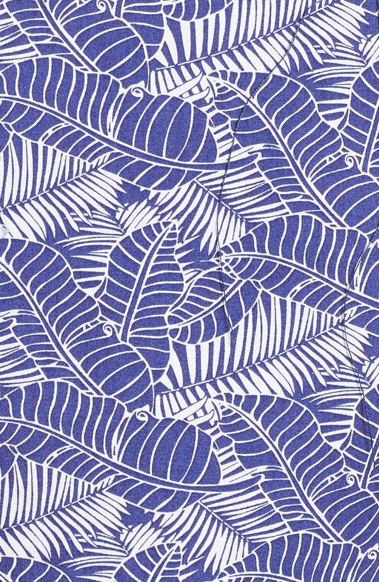 Lajoyas Regular Fit Palm Print Sport Shirt,                             Alternate thumbnail 5, color,                             Blue