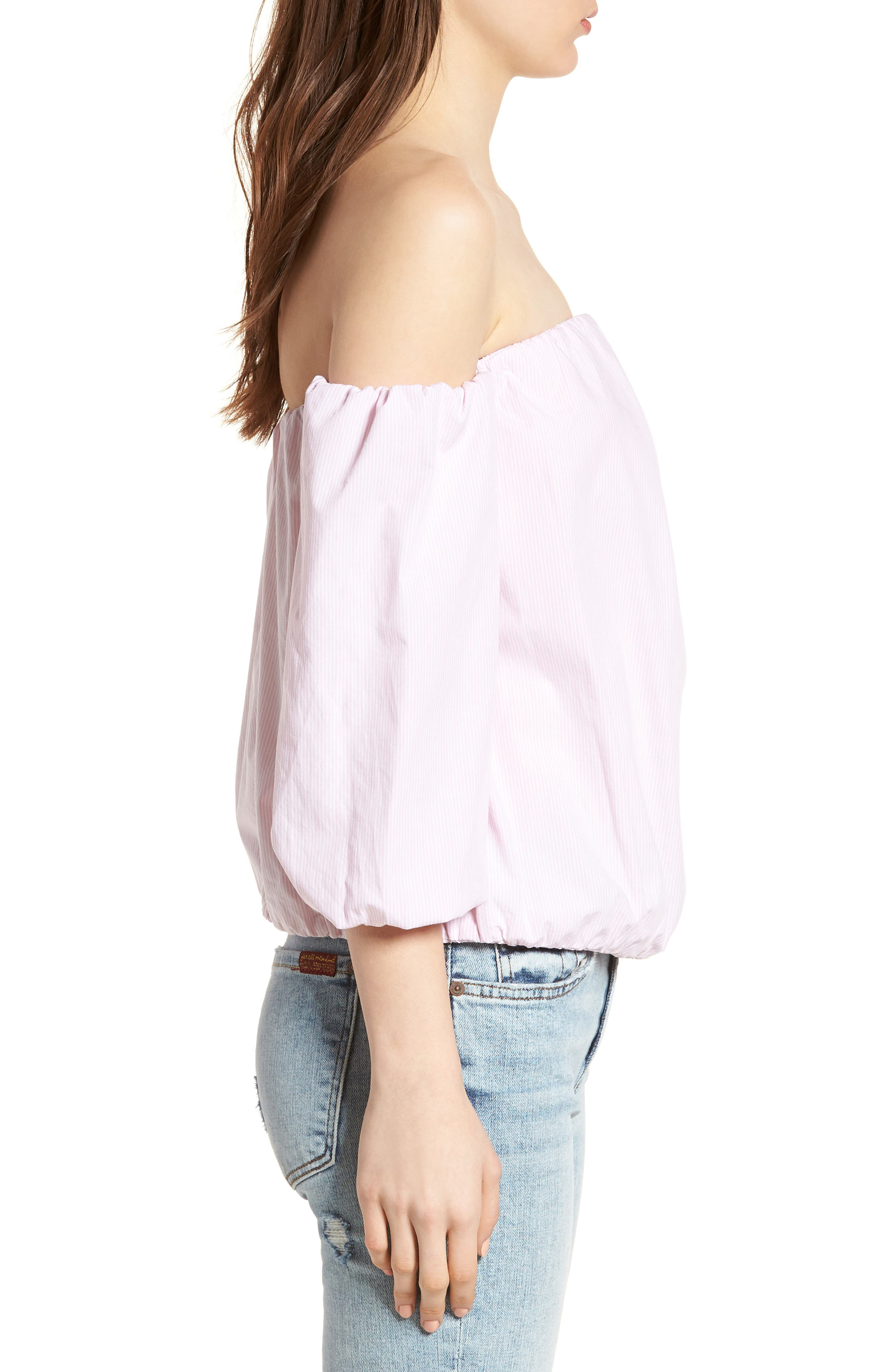 Off the Shoulder Top,                             Alternate thumbnail 3, color,                             Pink/ White
