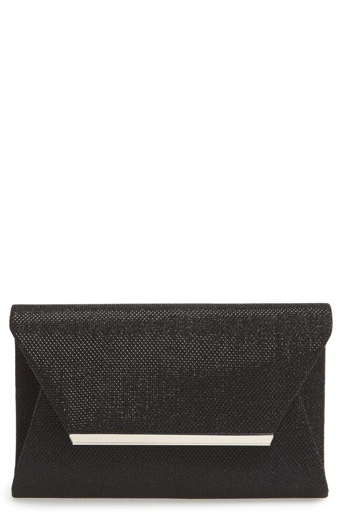 Metallic Envelope Clutch,                         Main,                         color, Black
