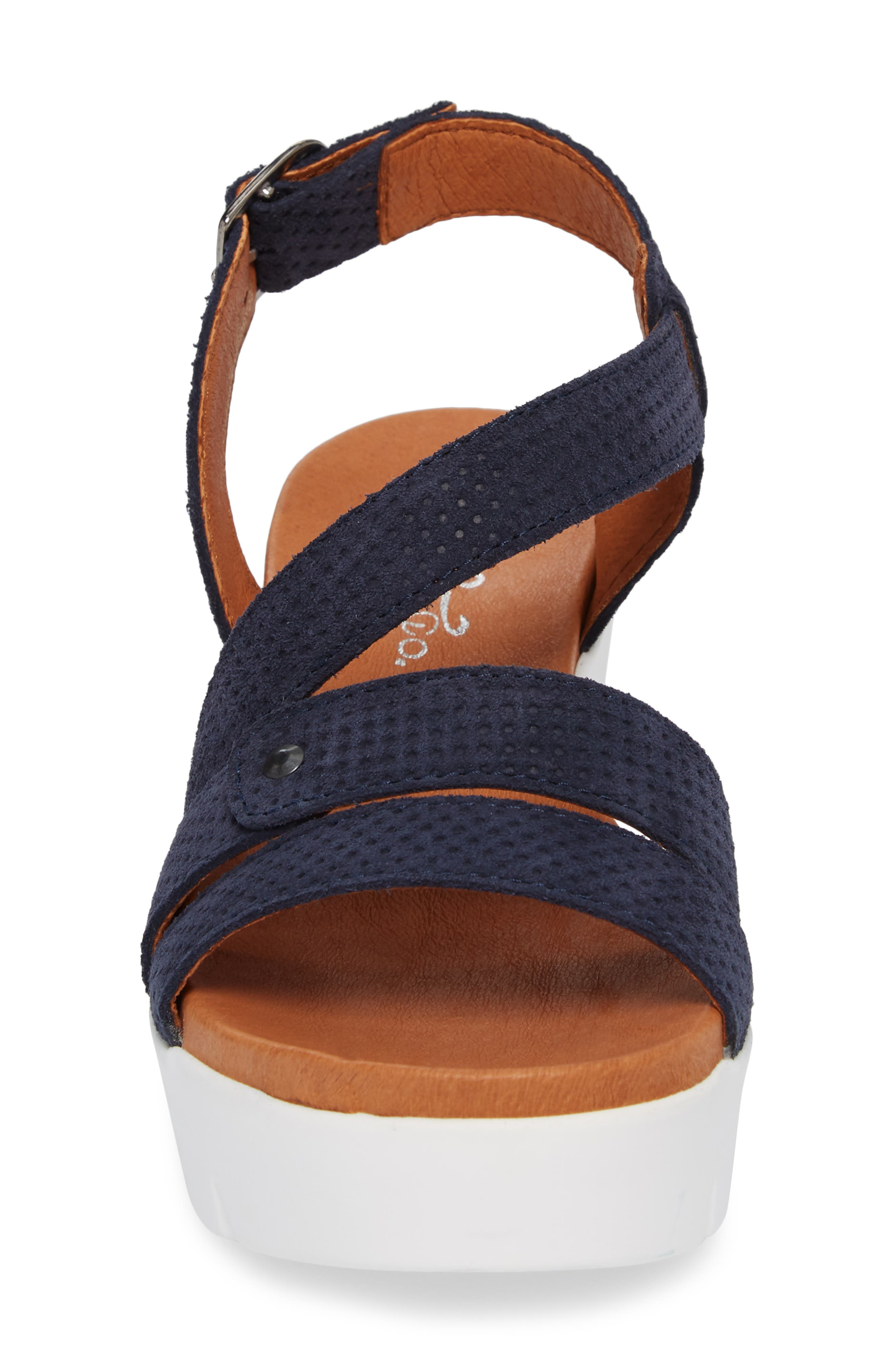 Sierra Platform Wedge Sandal,                             Alternate thumbnail 4, color,                             Blue Leather