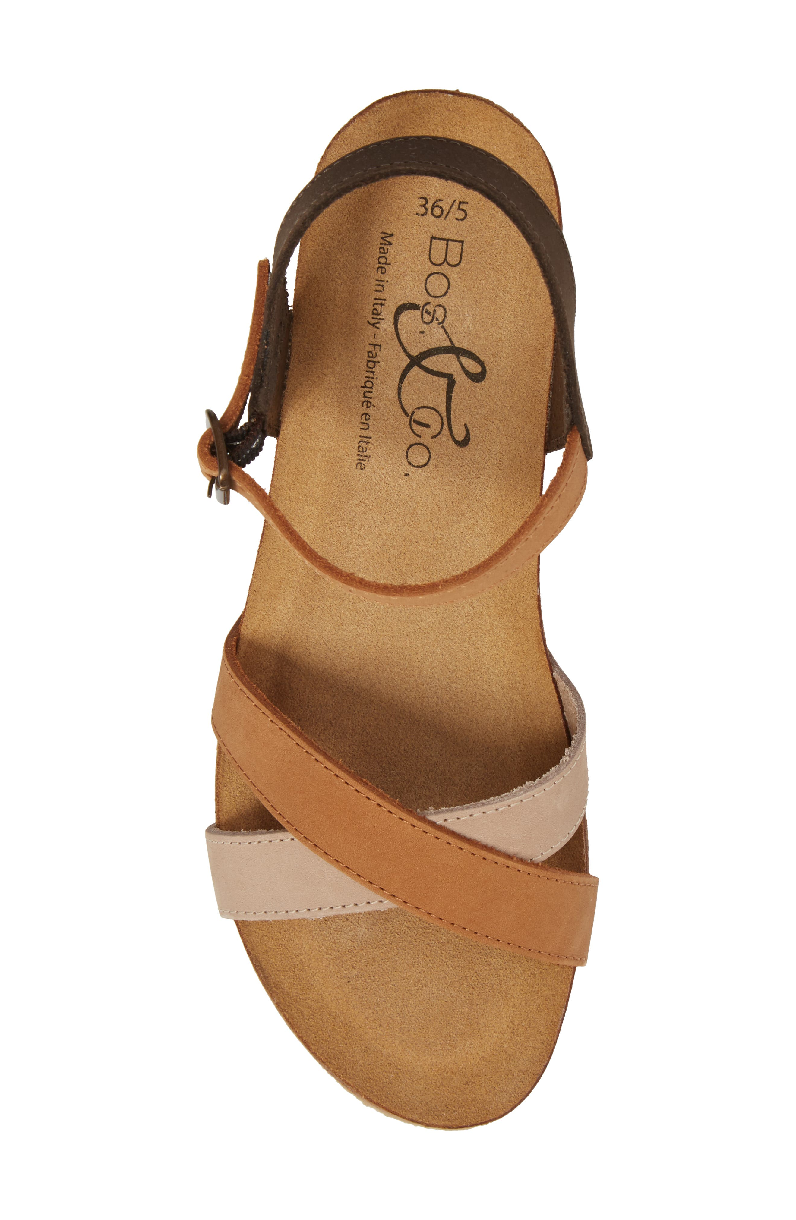 Lucca Wedge Sandal,                             Alternate thumbnail 5, color,                             Multi Cognac Nubuck Leather