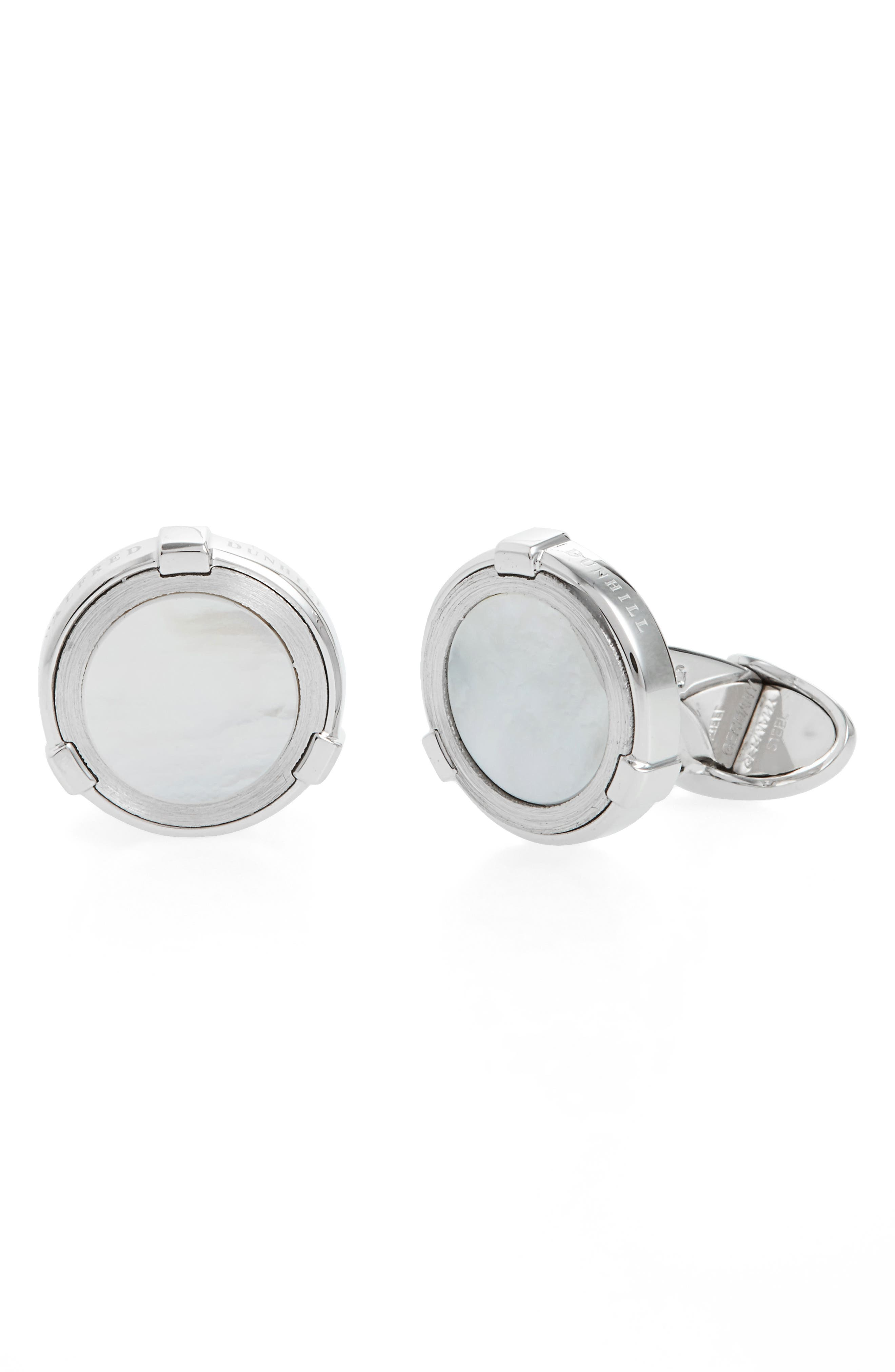 Dunhill Latch Station Silver Cuff Links with Mother-of-Pearl Vc69nTbuMy