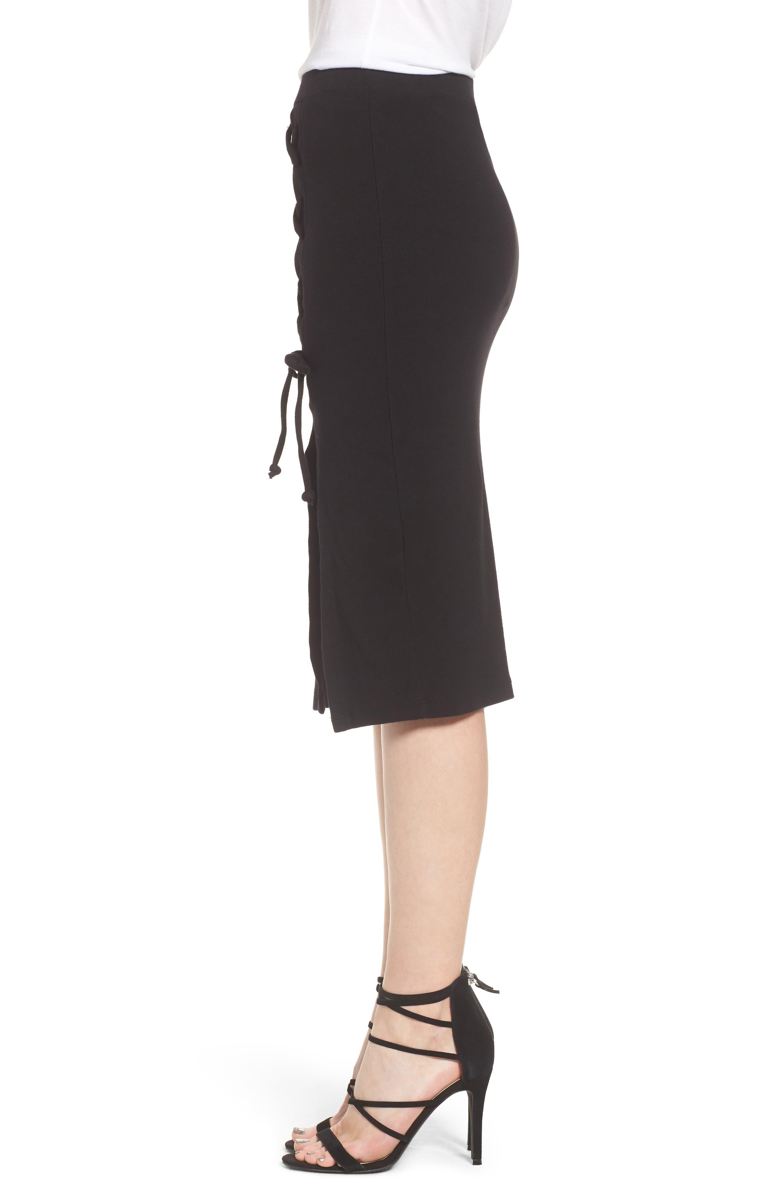 Rib Knit Lace-Up Skirt,                             Alternate thumbnail 4, color,                             Black