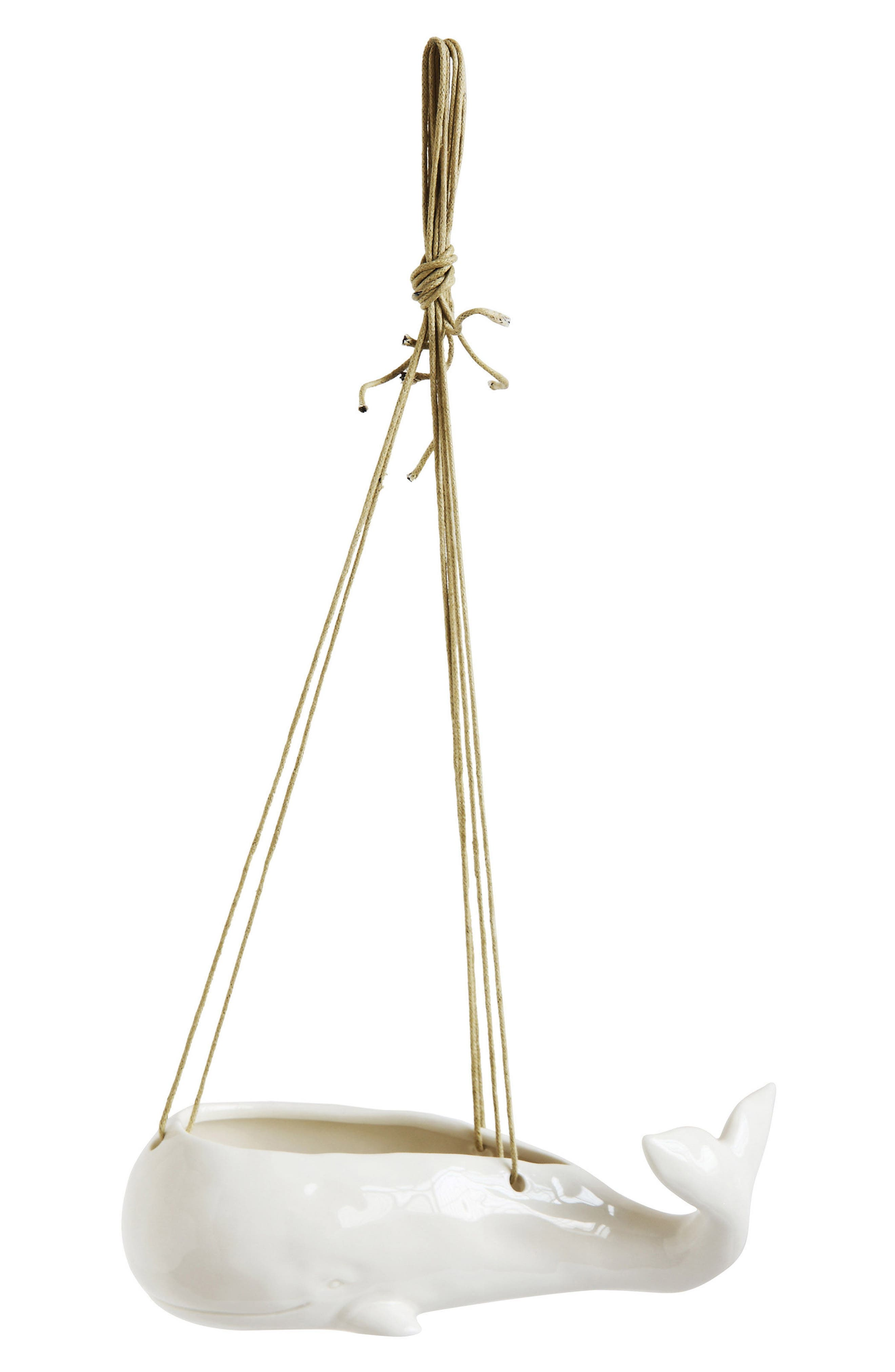 Whale Hanging Planter,                         Main,                         color, White