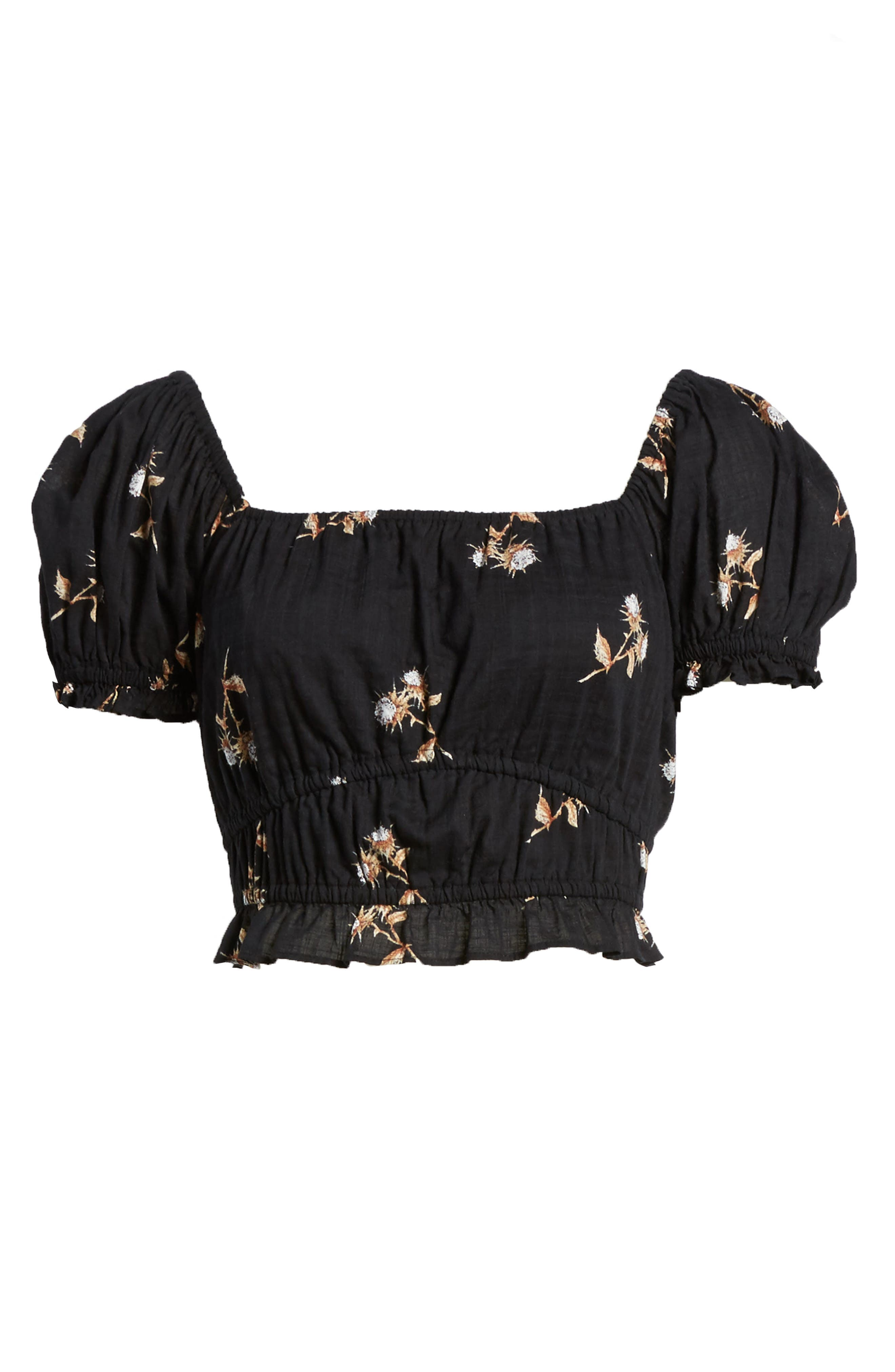 Puff Sleeve Crop Top,                             Alternate thumbnail 8, color,                             Black Washy Bouquet