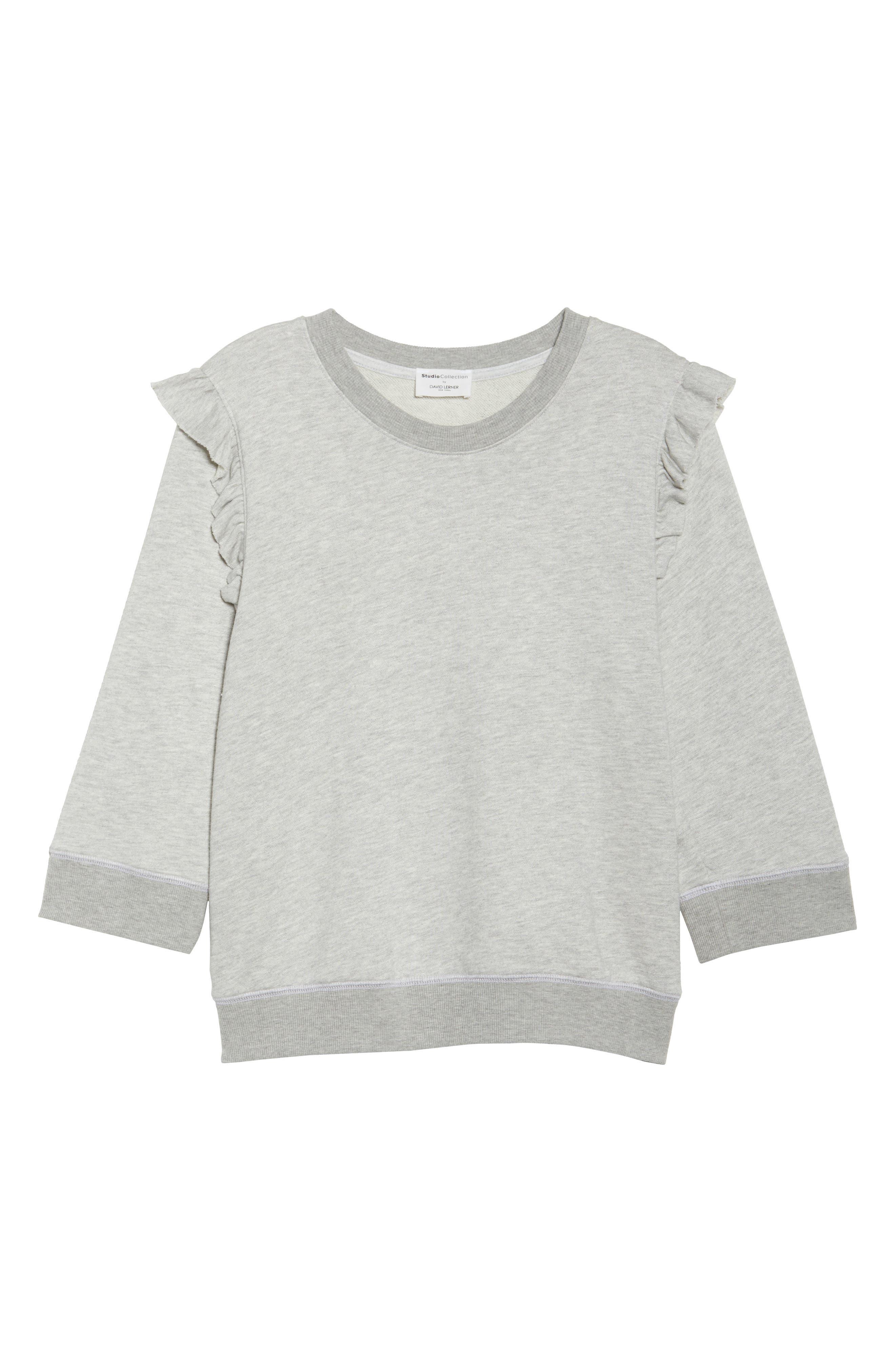 Ruffle Sweatshirt,                             Alternate thumbnail 6, color,                             Heather Grey