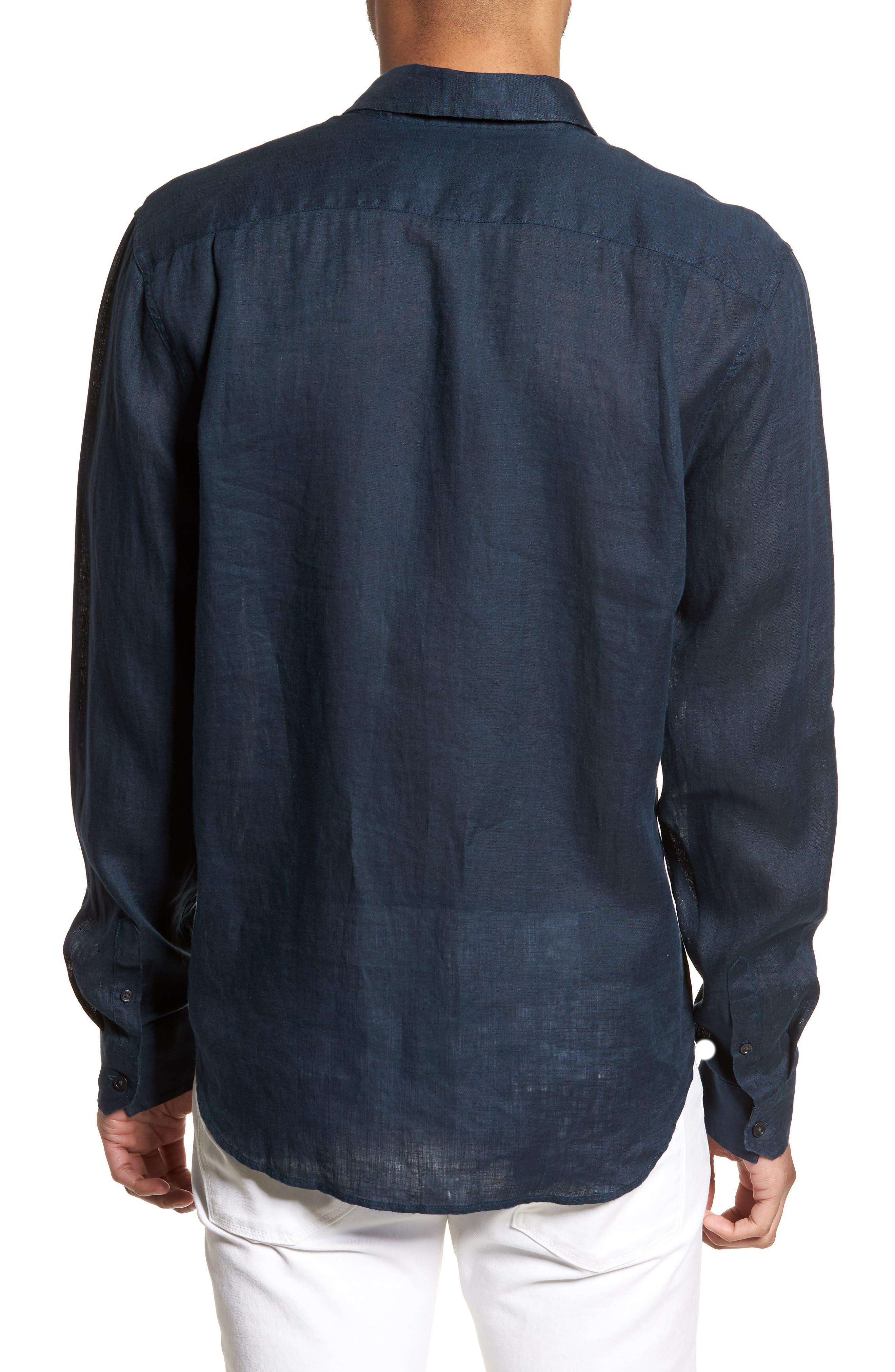 Washed Slim Fit Linen Sport Shirt,                             Alternate thumbnail 2, color,                             Mechanic Blue