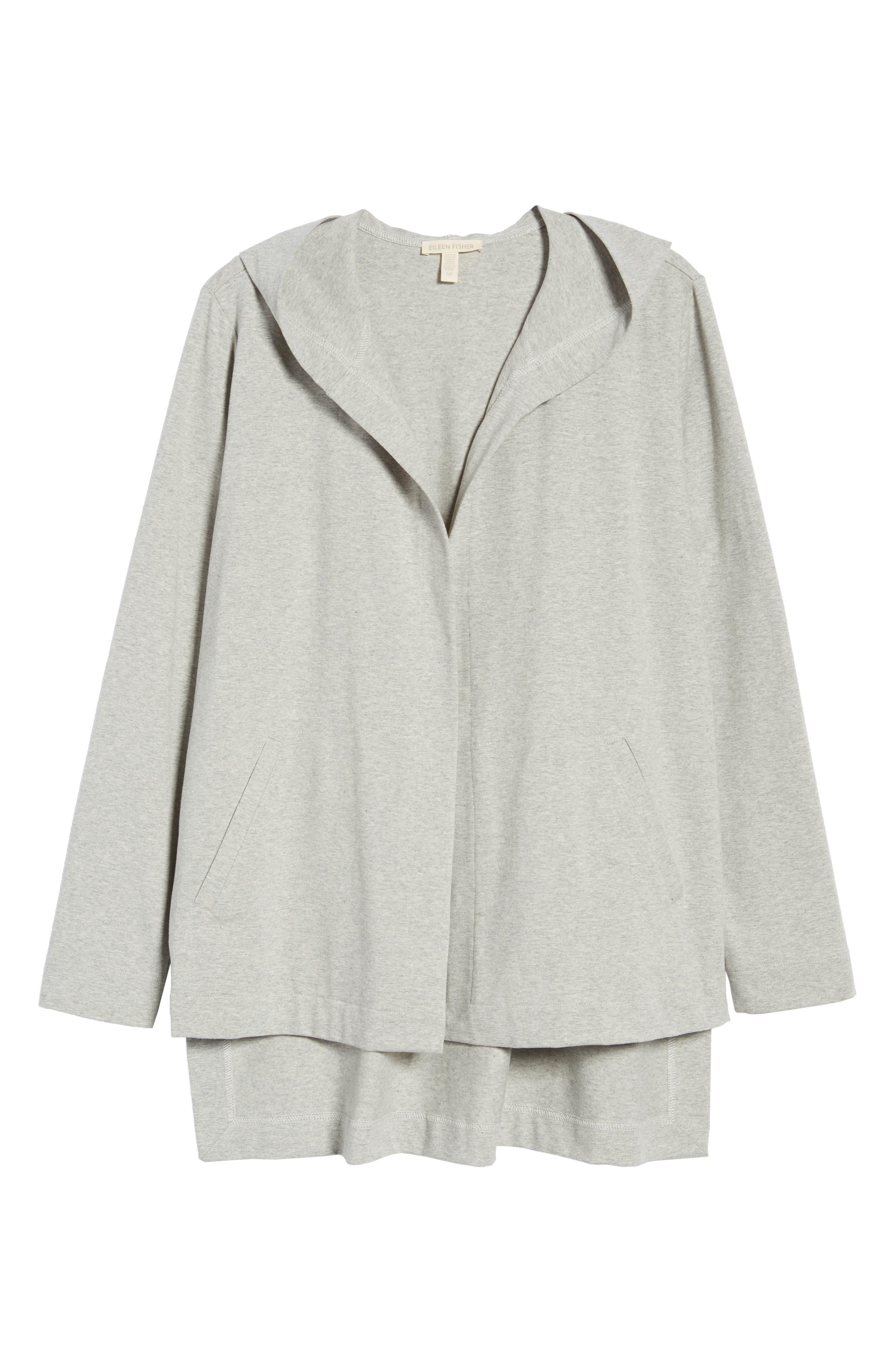 Hooded Stretch Organic Cotton Cardigan,                             Alternate thumbnail 7, color,                             Dark Pearl