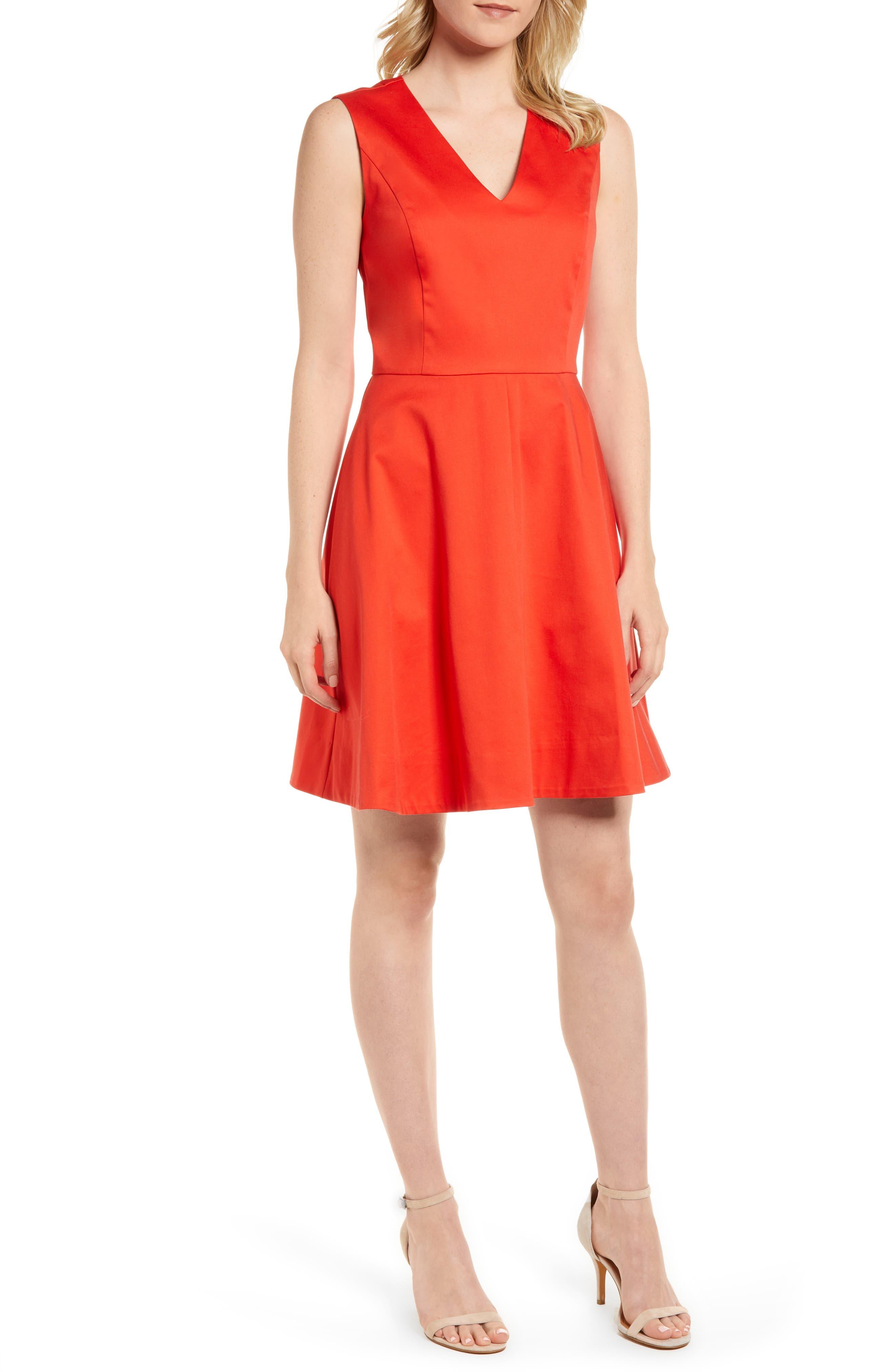 Love Circle V-Neck Dress,                             Main thumbnail 1, color,                             Red
