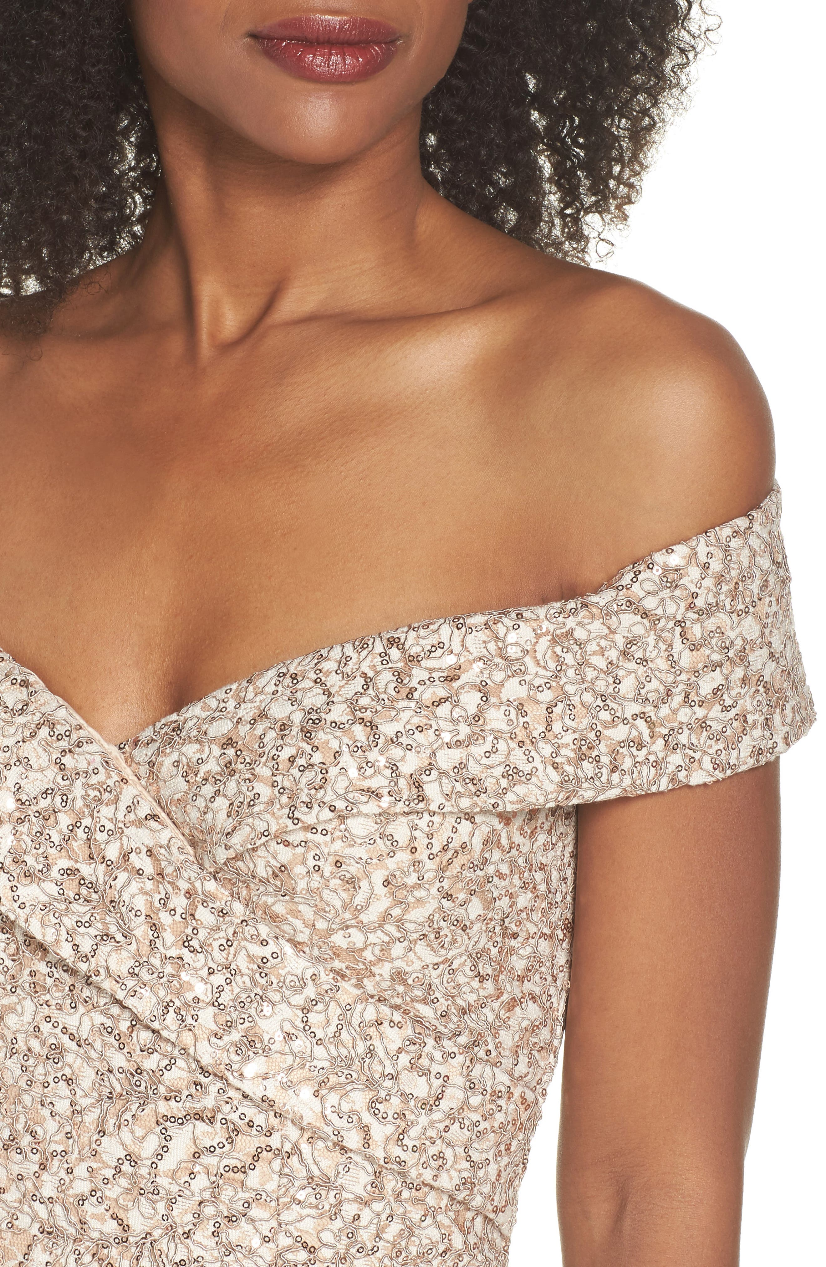 Off the Shoulder Sequin & Lace Gown,                             Alternate thumbnail 4, color,                             Taupe