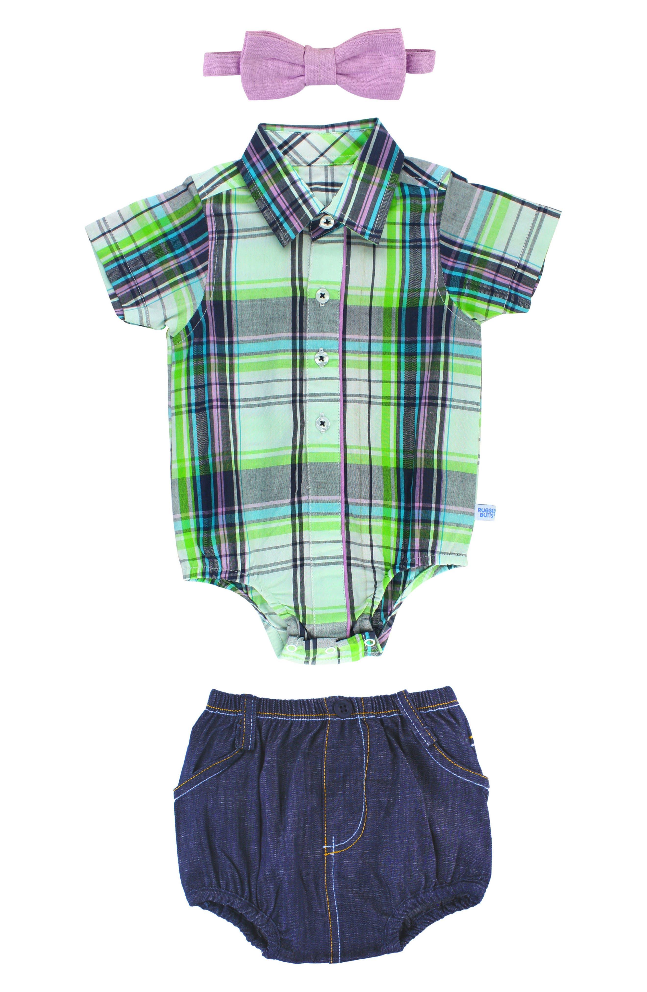 Christopher Plaid Bodysuit, Shorts & Bow Tie Set,                             Main thumbnail 1, color,                             White
