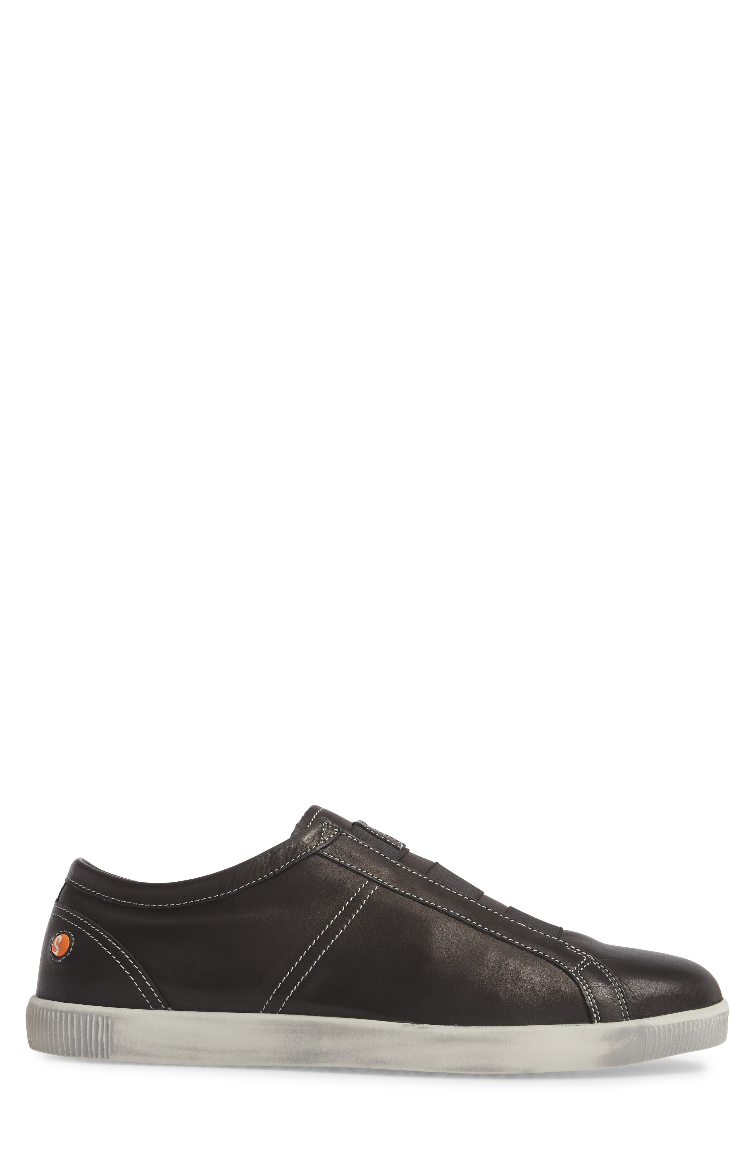 Tip Laceless Sneaker,                             Alternate thumbnail 3, color,                             Black Leather