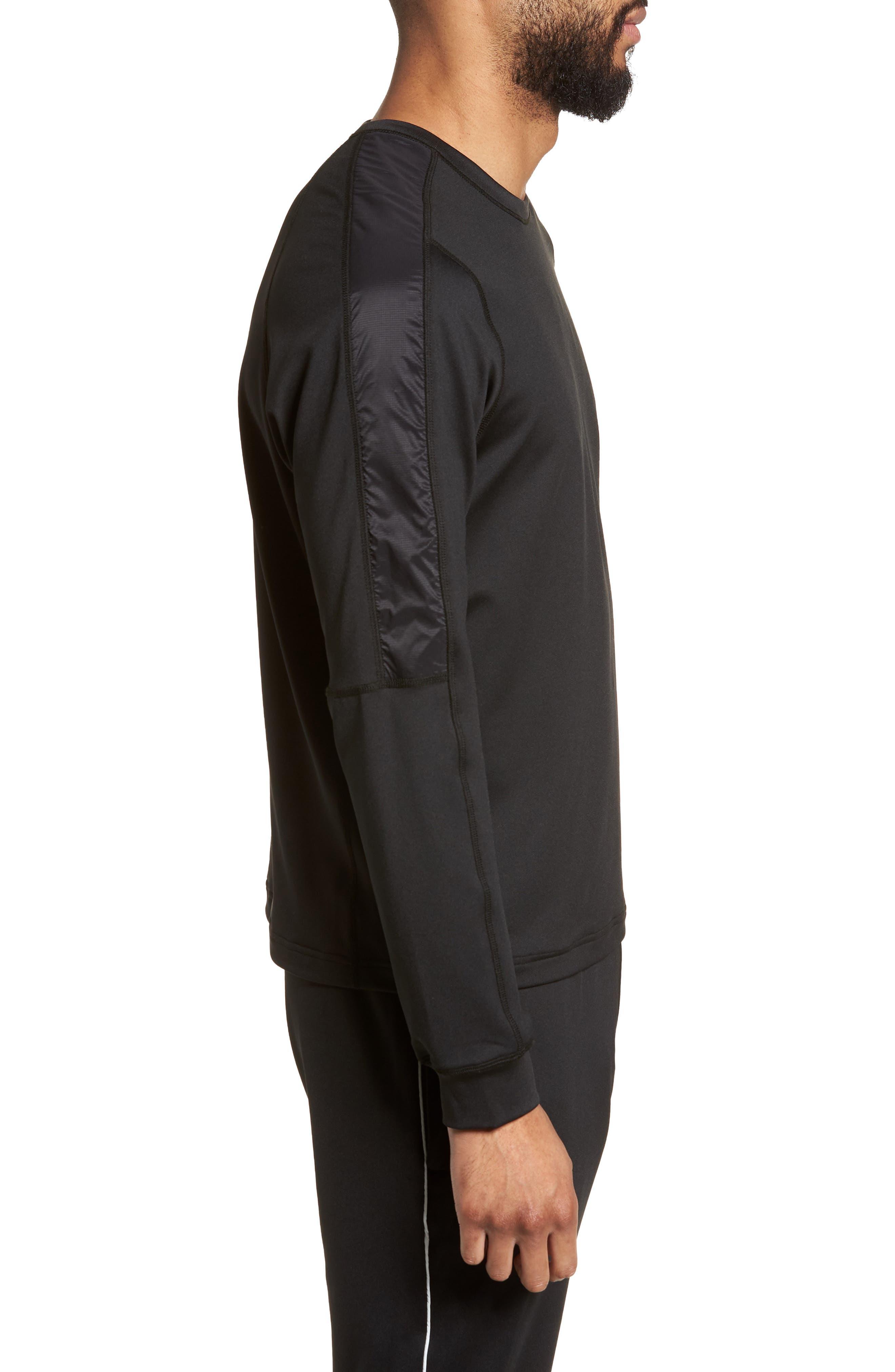 Hybrid Coolmax Crewneck Shirt,                             Alternate thumbnail 3, color,                             Black