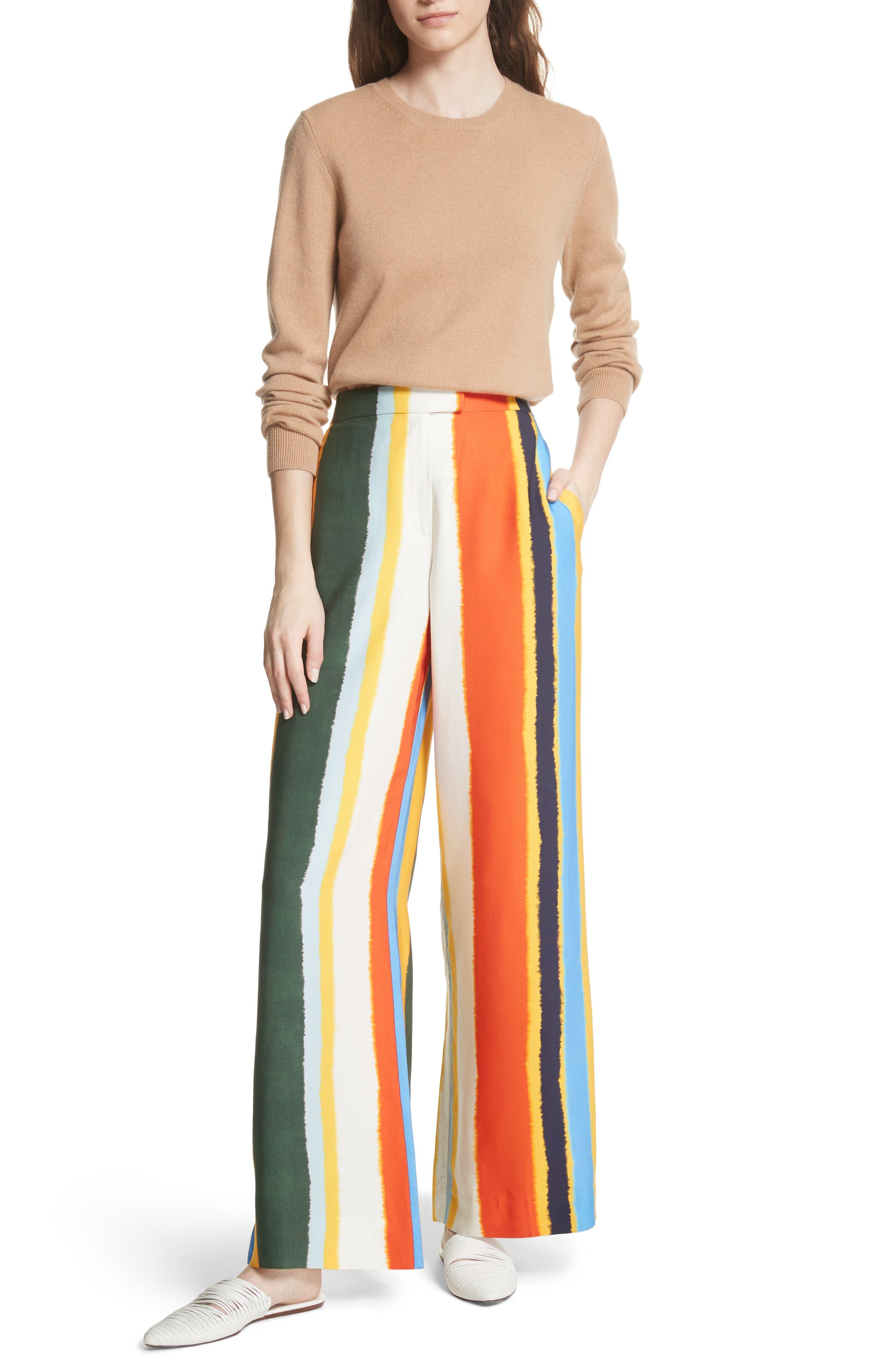 Fiona Stripe Wide Leg Pants,                             Alternate thumbnail 7, color,                             Balloon Stripe