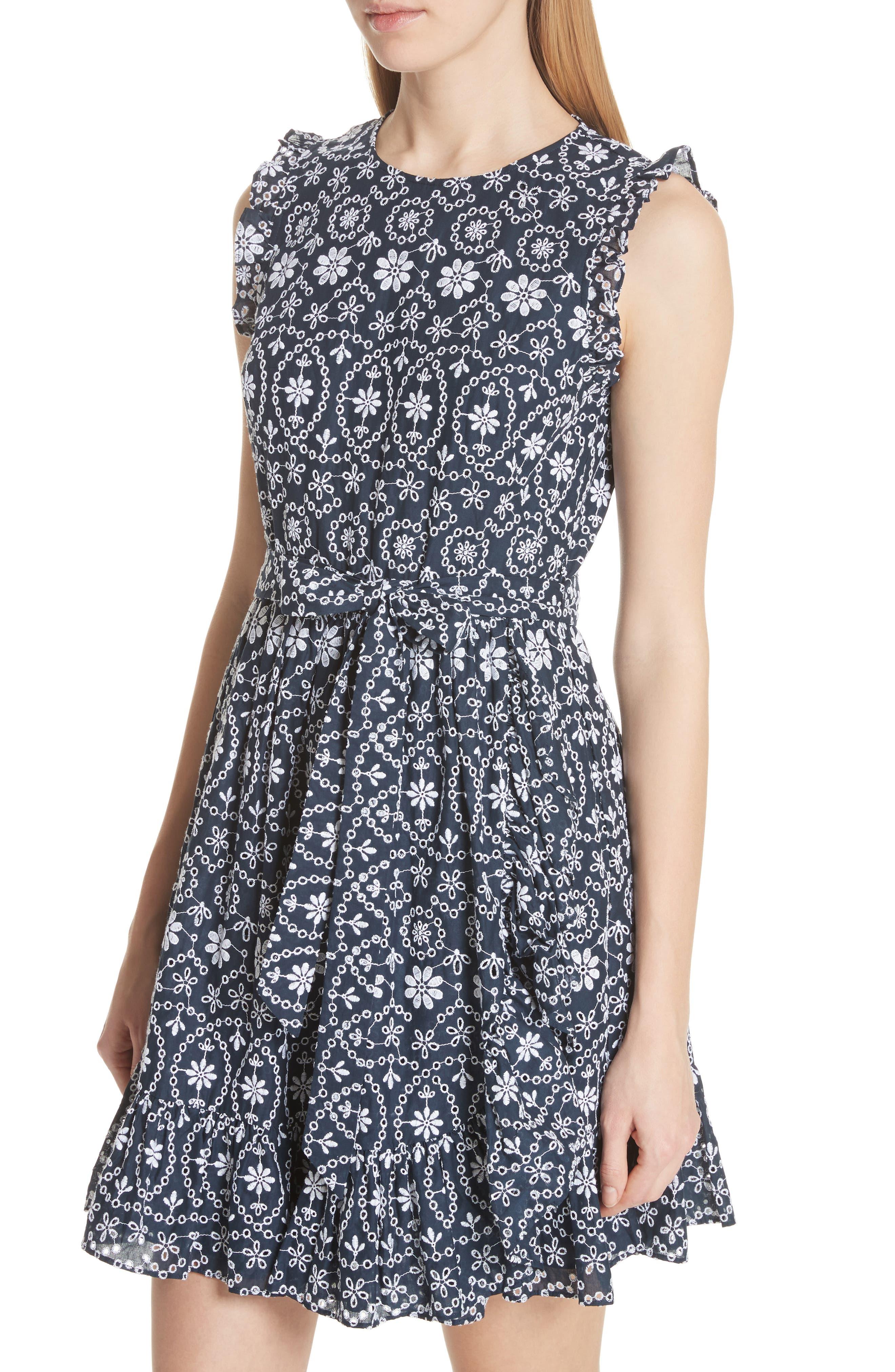 eyelet fit & flare dress,                             Alternate thumbnail 4, color,                             Rich Navy/ Fresh White