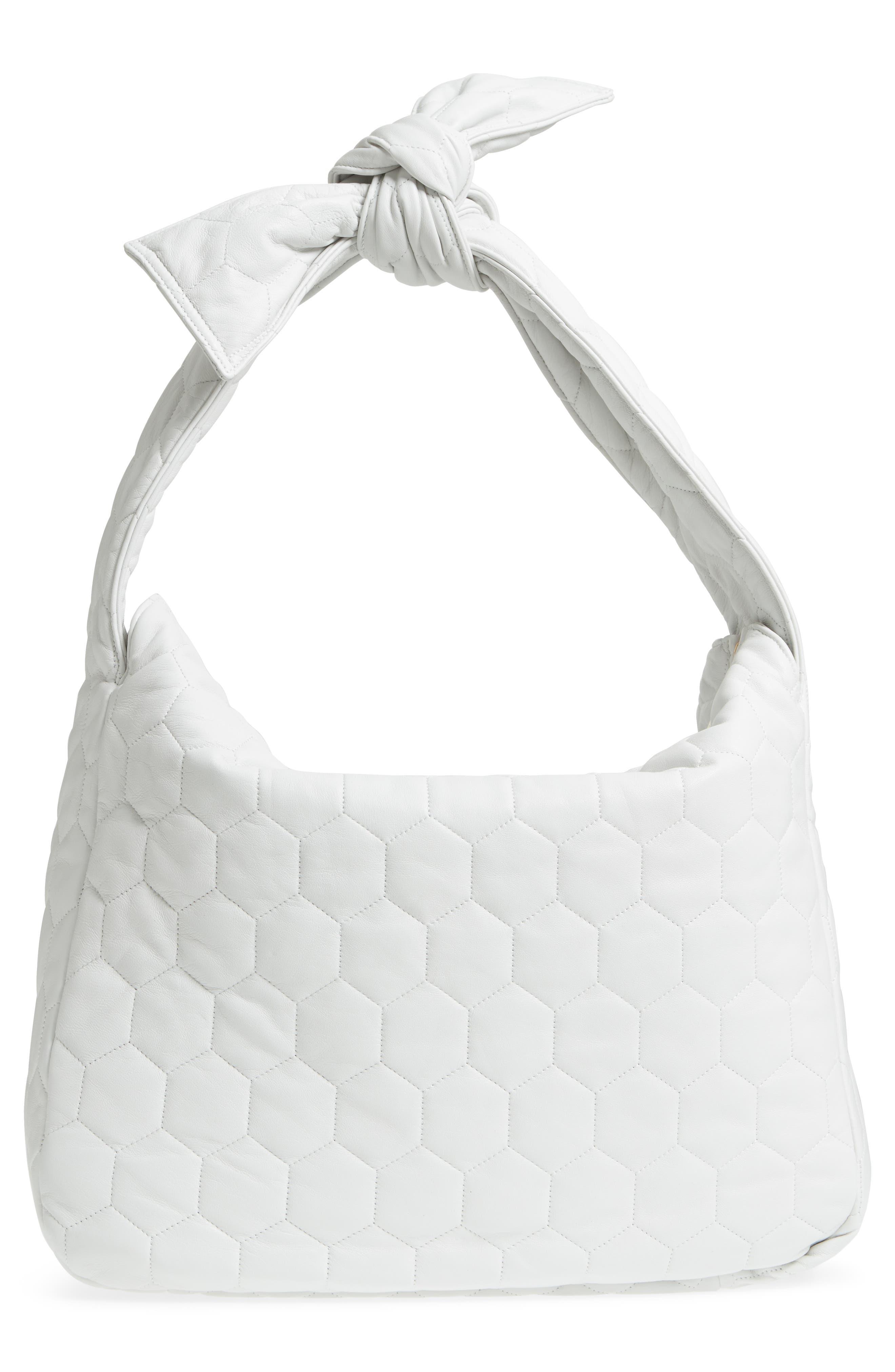 Balloon Leather Shoulder Bag,                             Alternate thumbnail 3, color,                             White