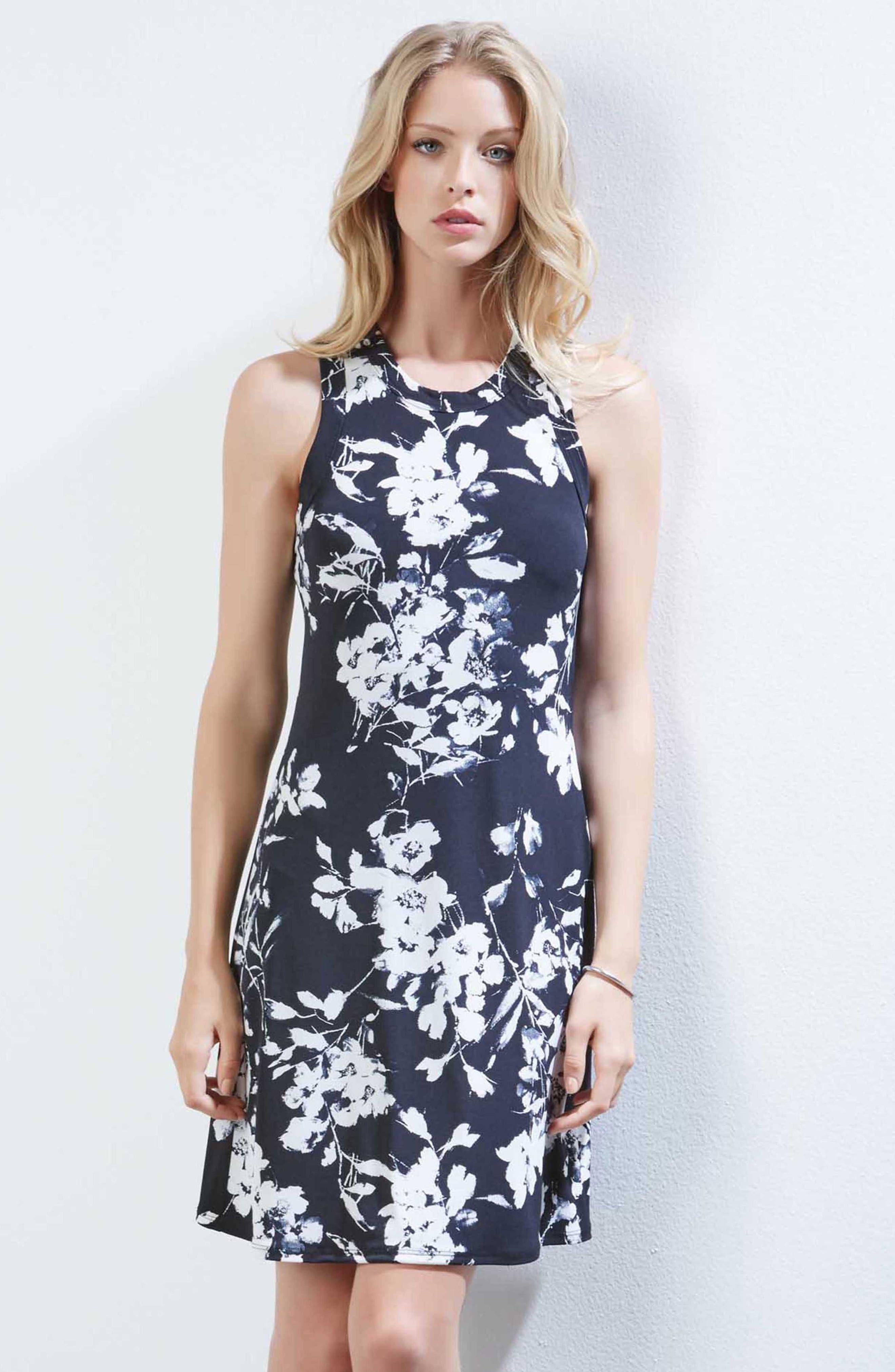 Floral Print Knit Dress,                             Alternate thumbnail 3, color,                             Black/ Off White