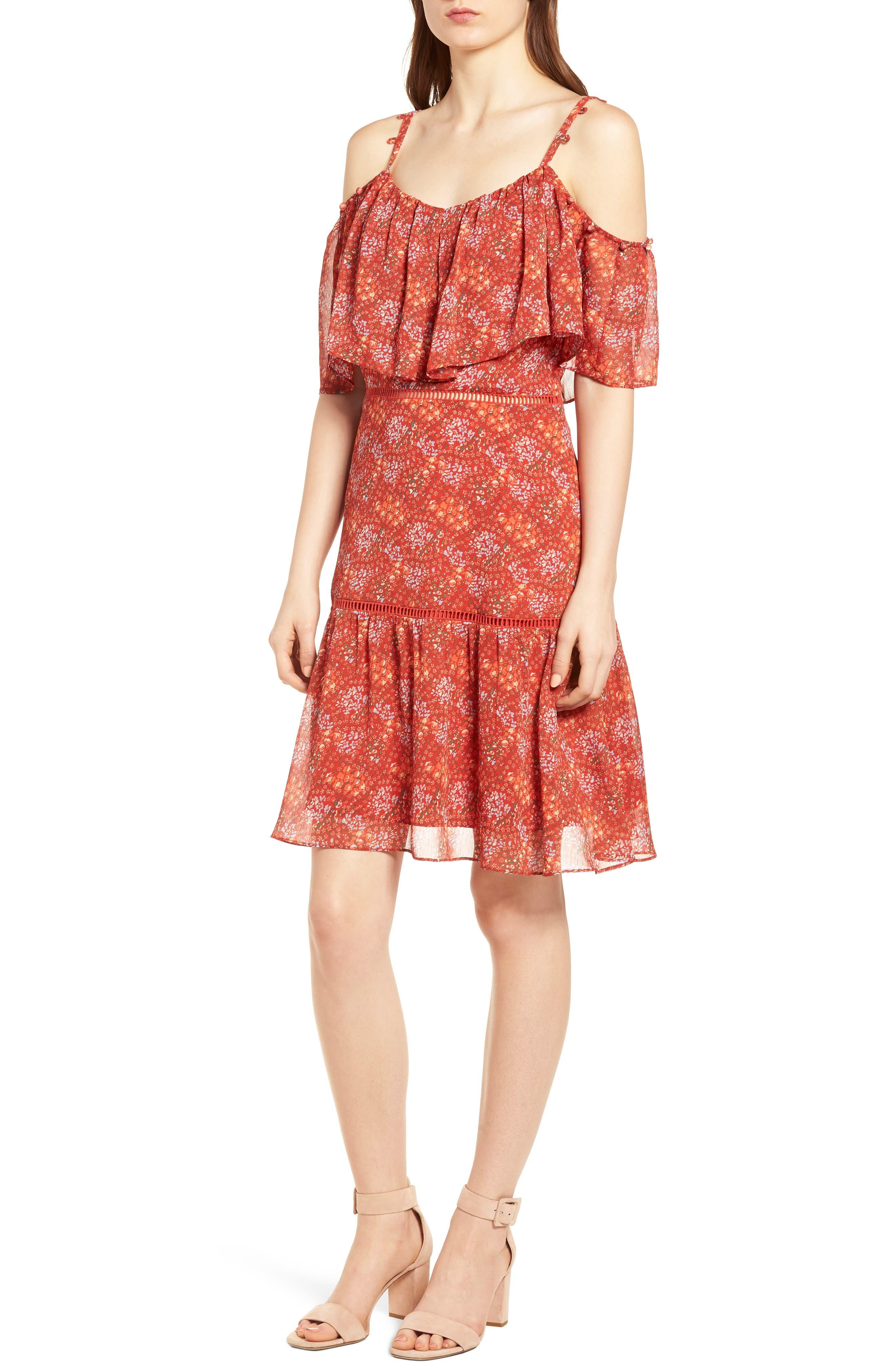 Lynne Chiffon Dress,                             Alternate thumbnail 4, color,                             Red Multi