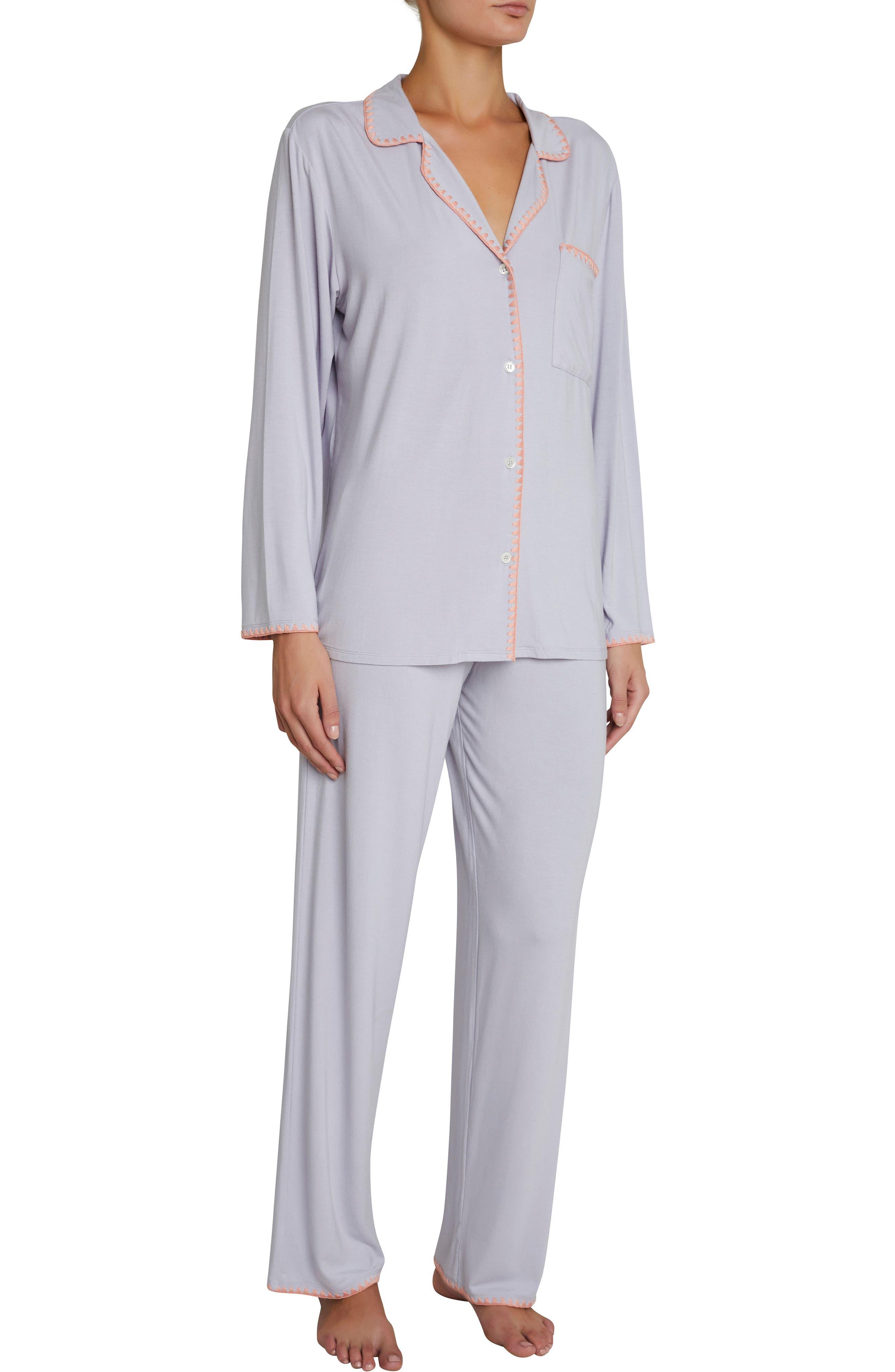 Frida the Whipstitch Pajamas,                             Main thumbnail 1, color,                             Washed Orchid/Melocoton