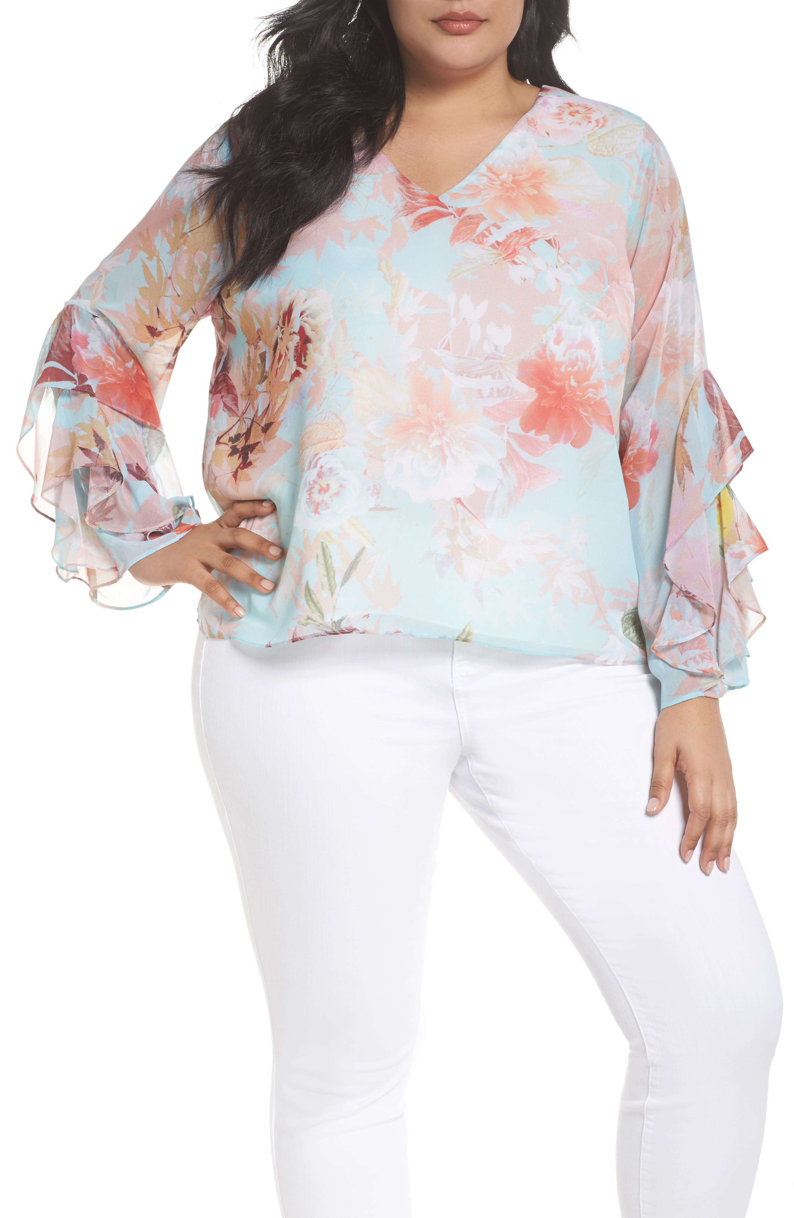Faded Bloom Ruffle Sleeve Blouse,                         Main,                         color, Aqua Glow