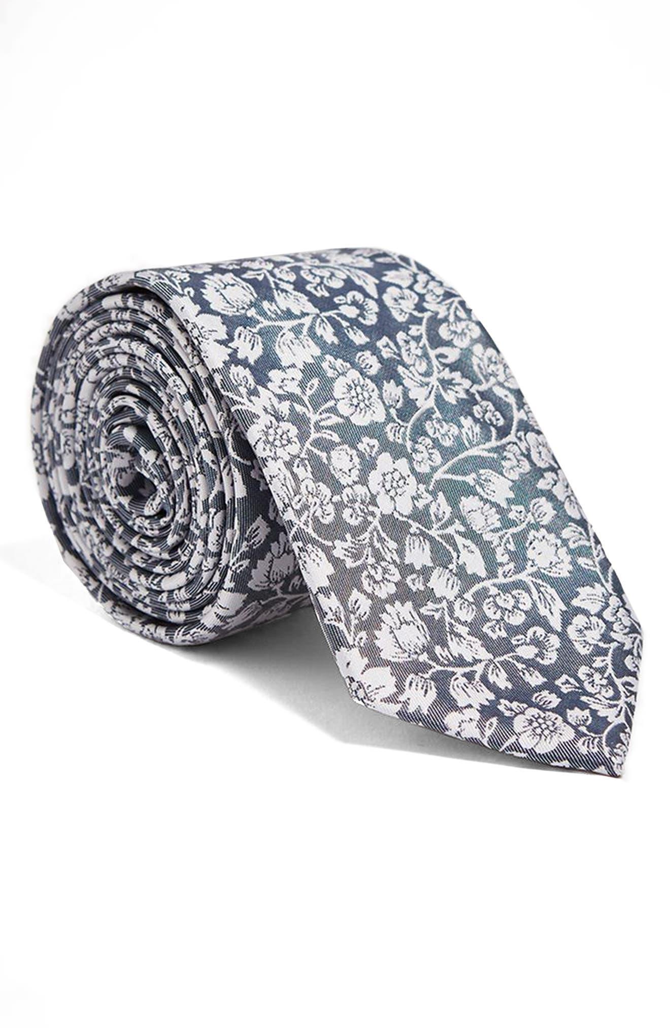 Floral Tie,                             Main thumbnail 1, color,                             Grey