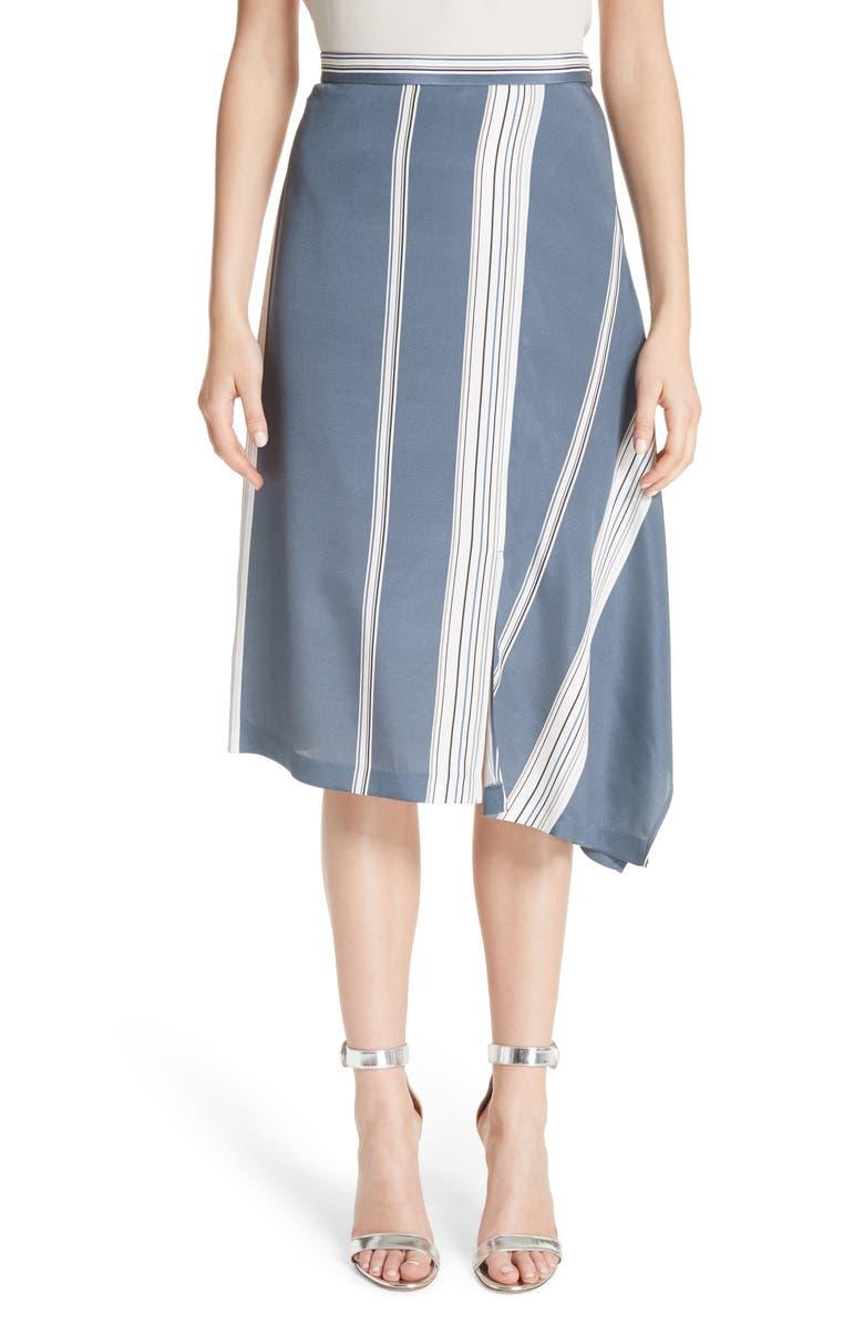 Asymmetrical Stretch-Silk Satin Skirt