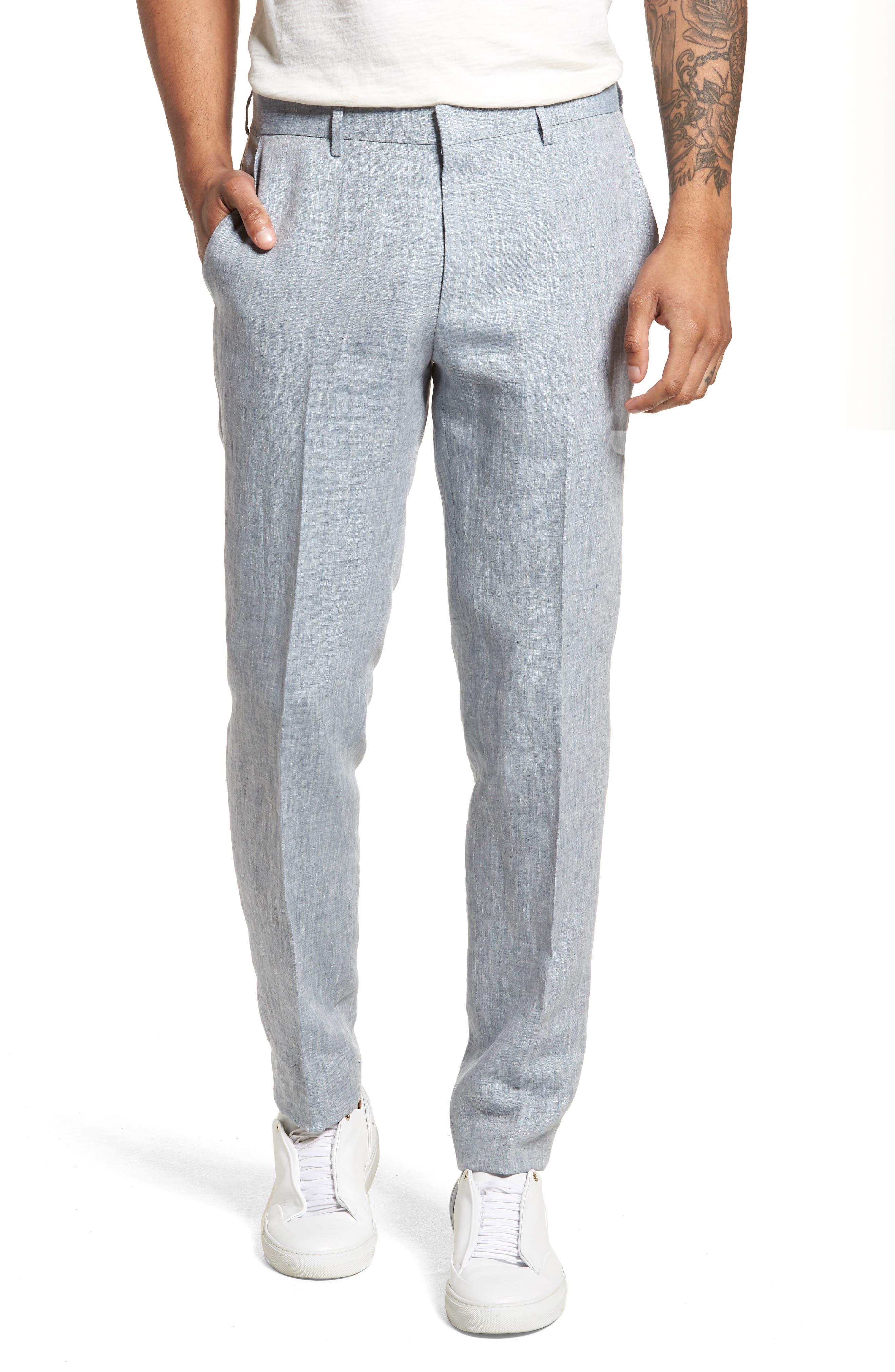 Helford/Gander Trim Fit Solid Linen Suit,                             Alternate thumbnail 6, color,                             Light Blue