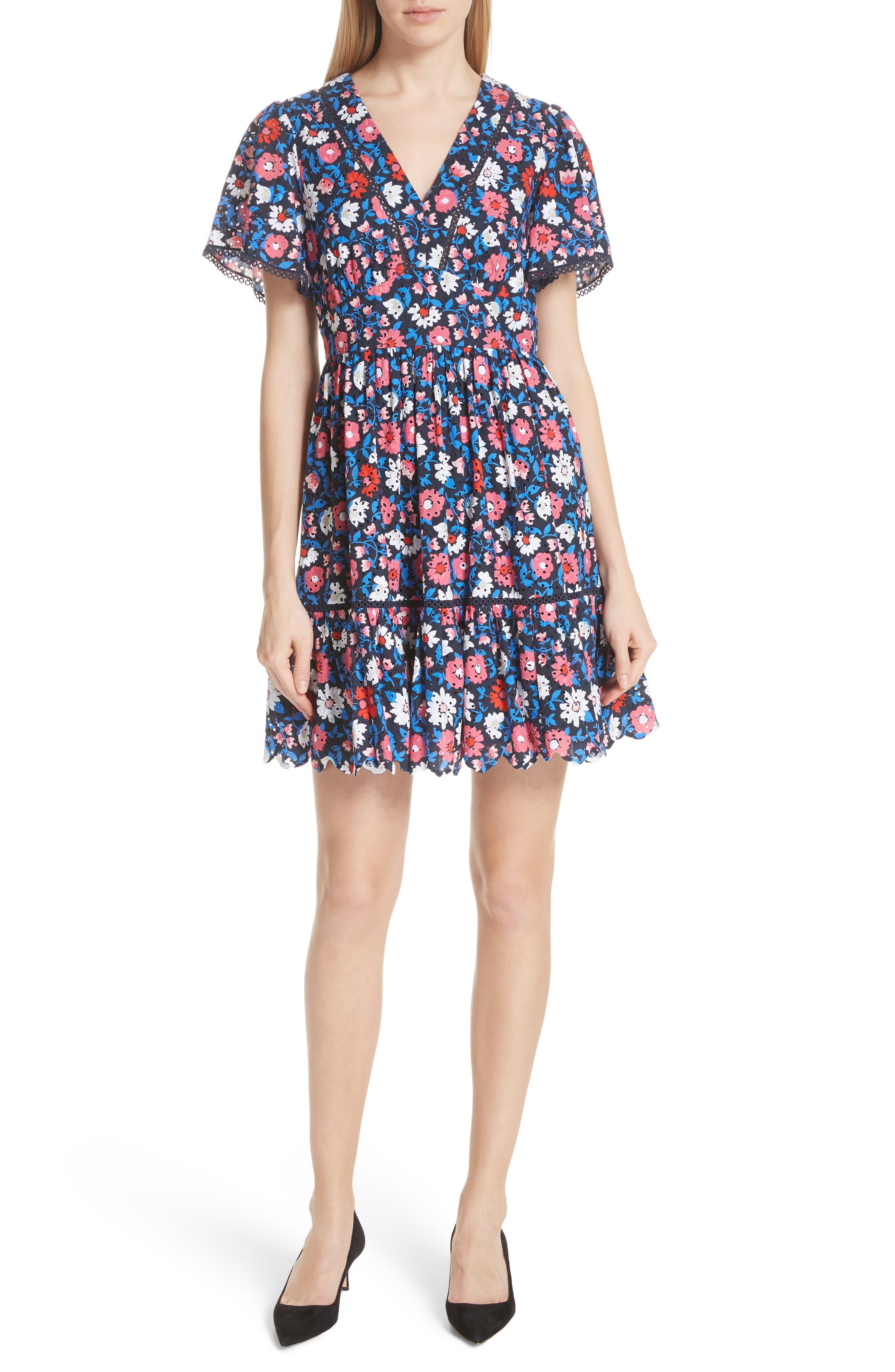 daisy eyelet minidress,                             Main thumbnail 1, color,                             Rich Navy