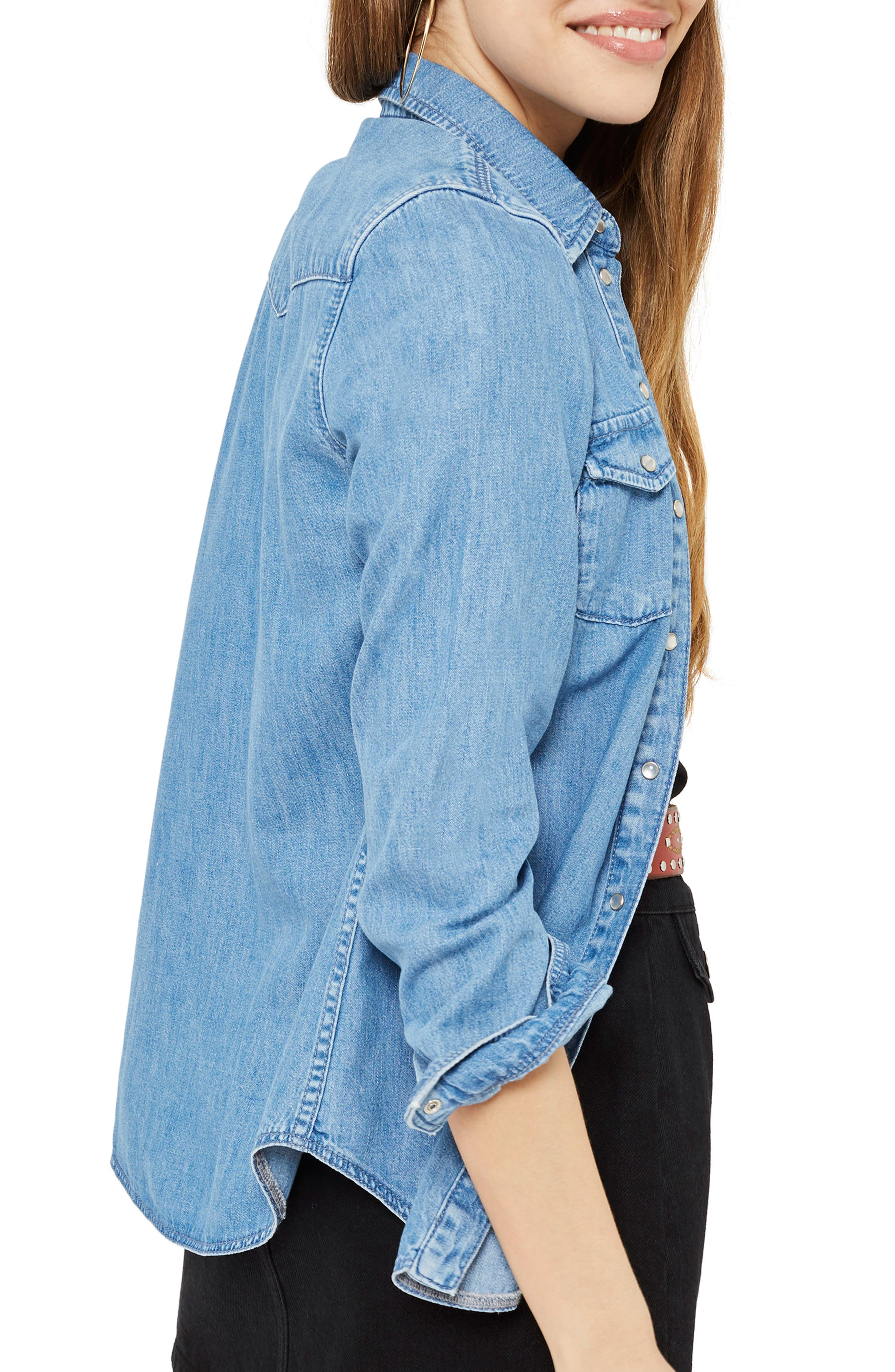 Gigi Fitted Denim Western Shirt,                             Alternate thumbnail 2, color,                             Light Denim