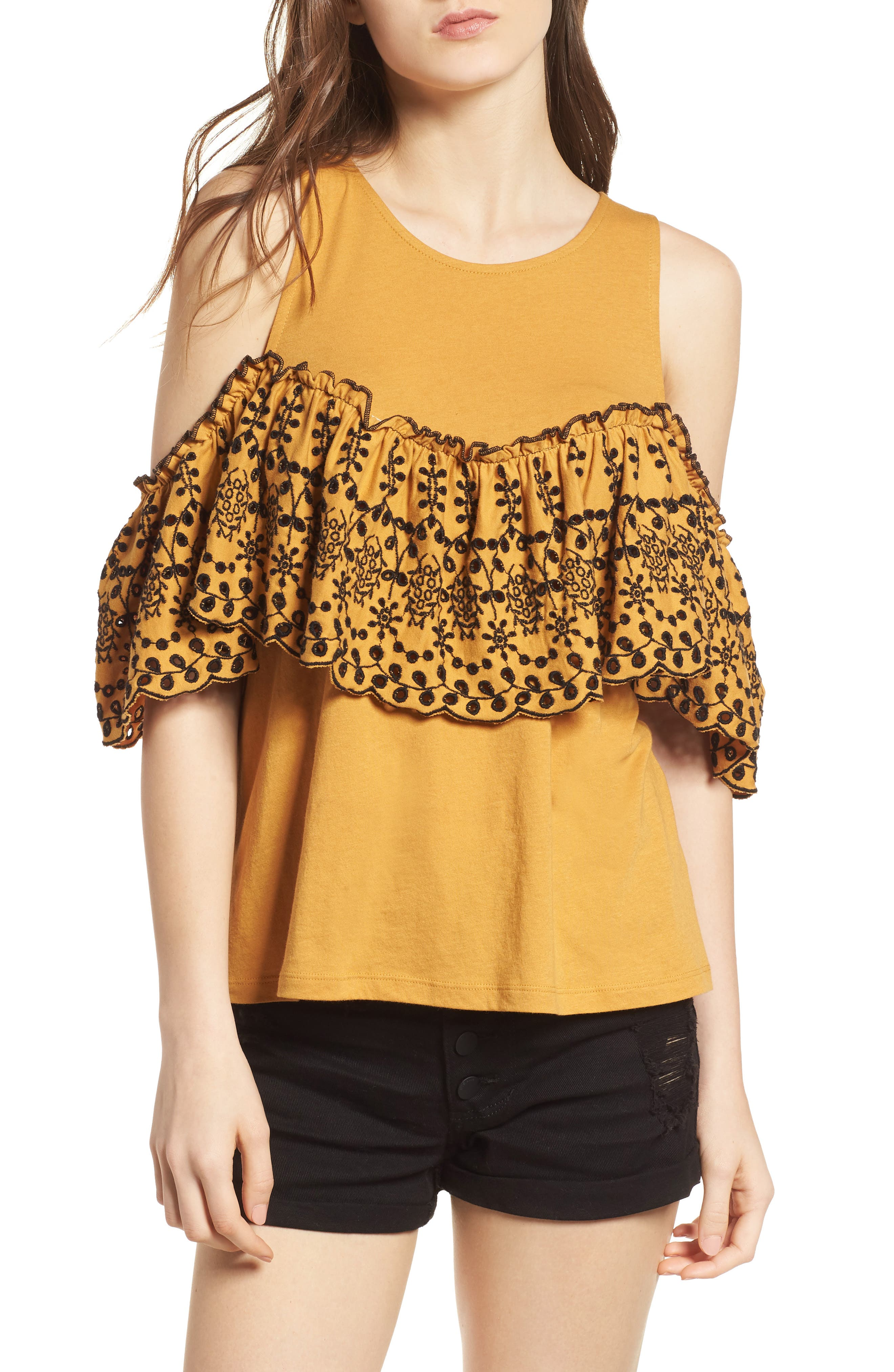 Eyelet Ruffle Cold Shoulder Top,                         Main,                         color, Yellow Spruce