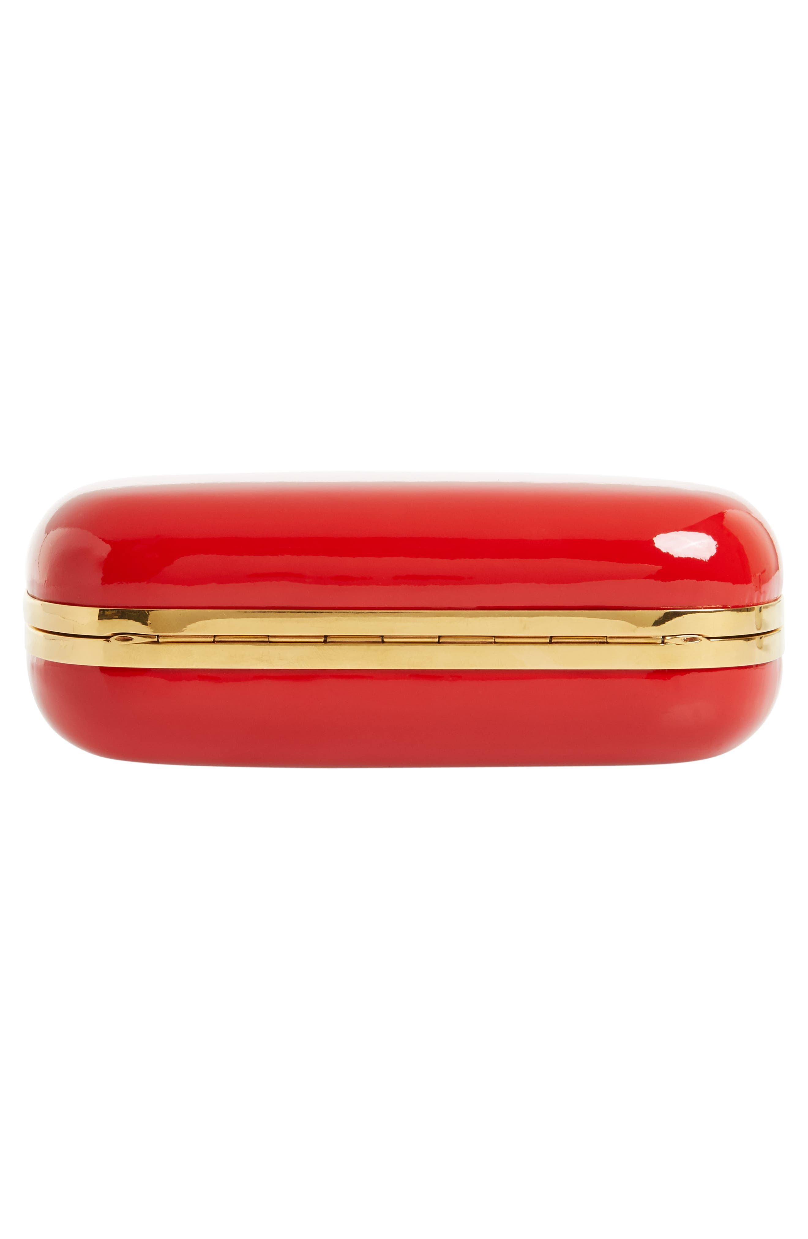 Knuckle Clasp Patent Leather Box Clutch,                             Alternate thumbnail 6, color,                             Lust Red