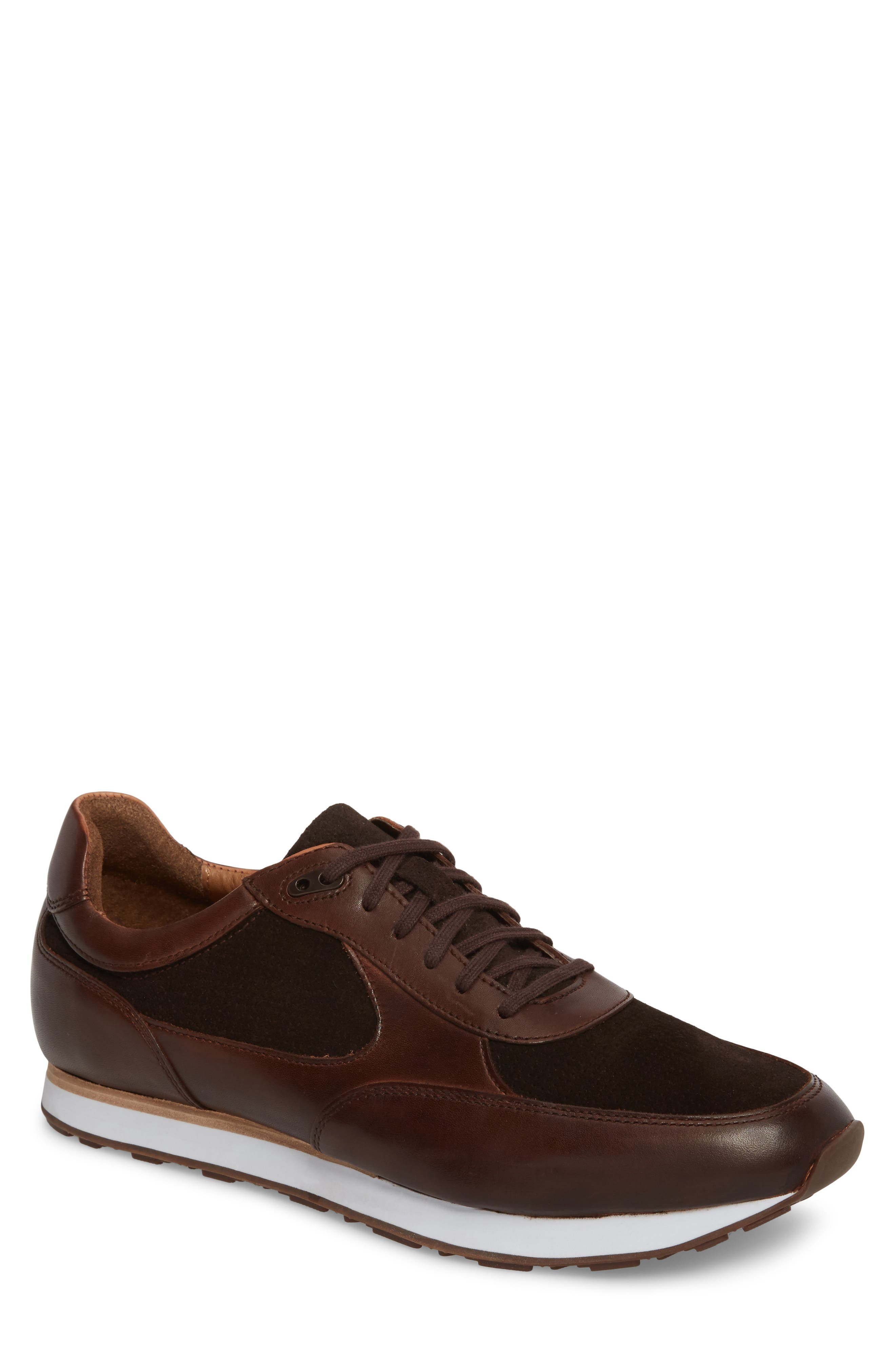 Malek Low Top Sneaker,                             Main thumbnail 1, color,                             Mahogany Leather/ Suede