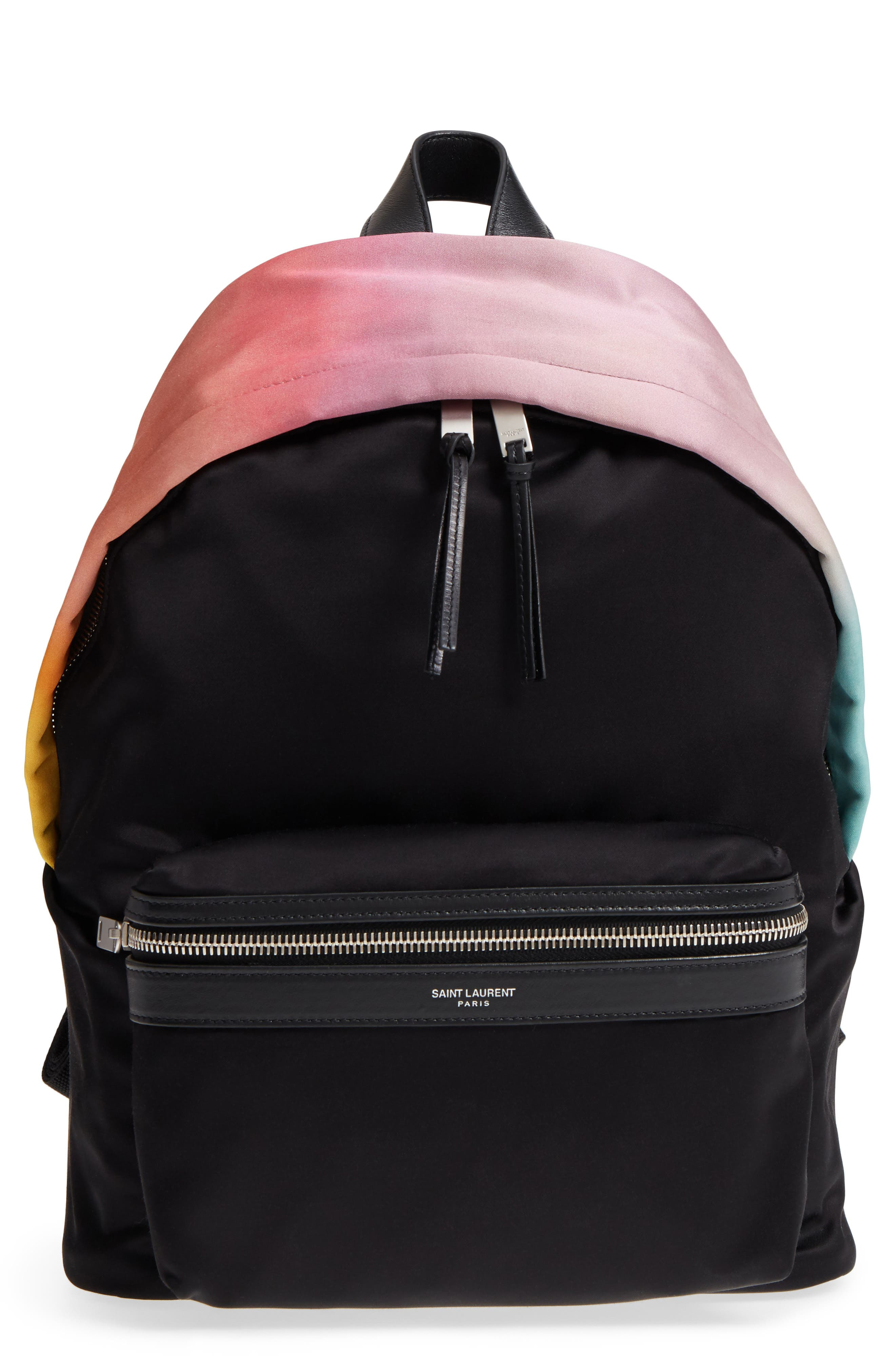 Saint Laurent City Ombré Print Satin Backpack