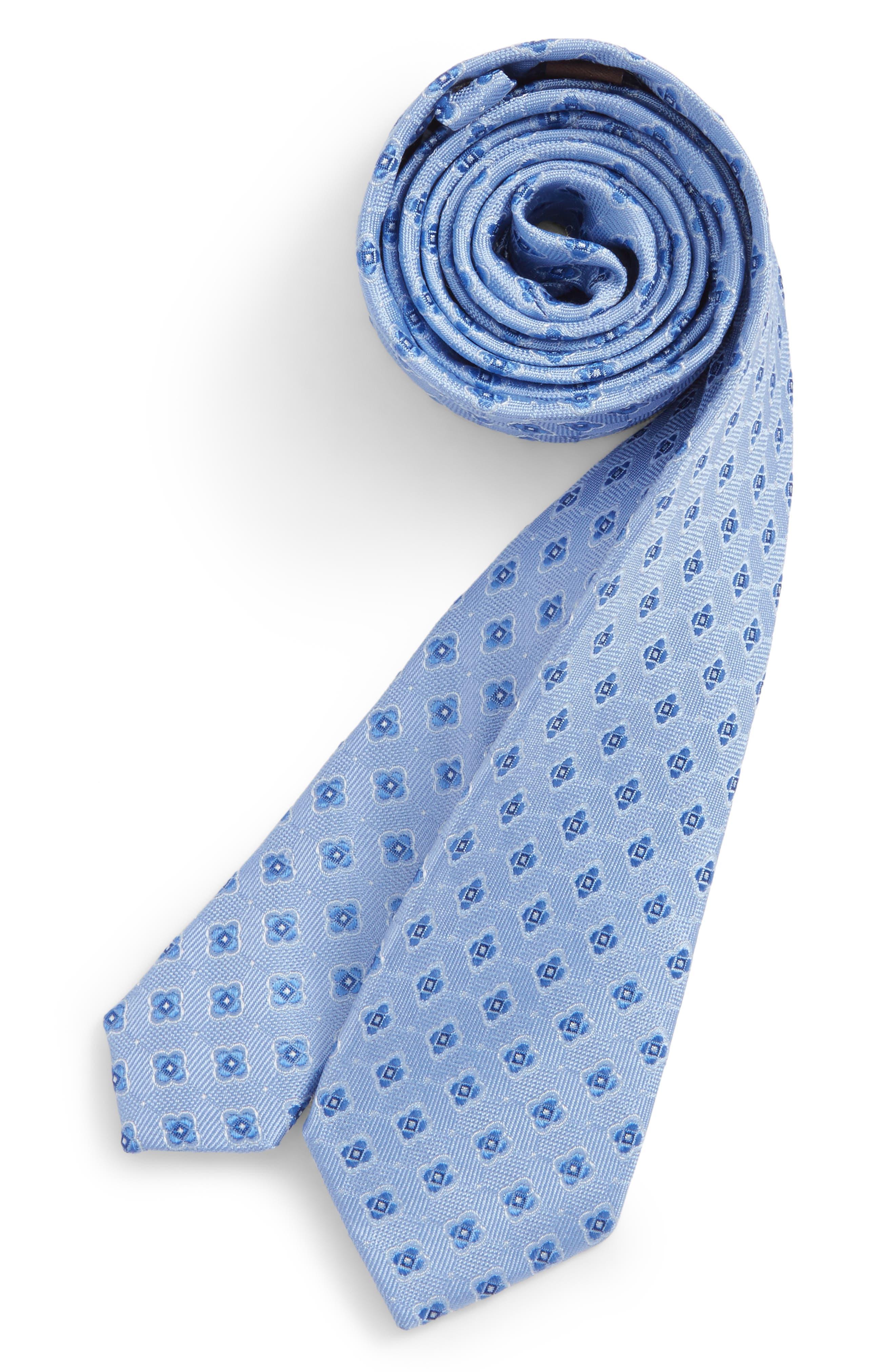 Medallion Silk Tie,                             Main thumbnail 1, color,                             Lt. Blue