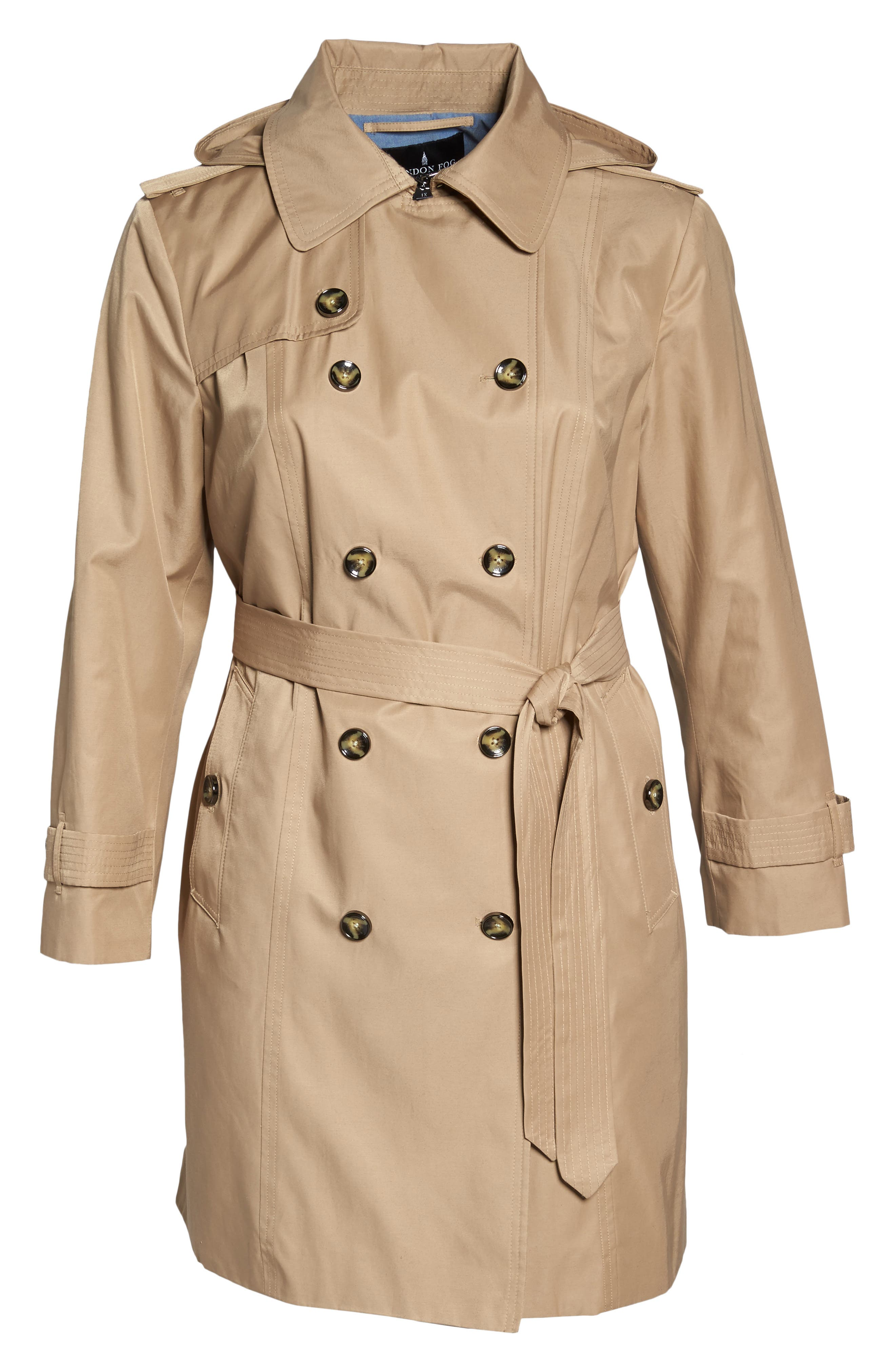 Hooded Double Breasted Trench Coat,                             Alternate thumbnail 6, color,                             Br Khaki