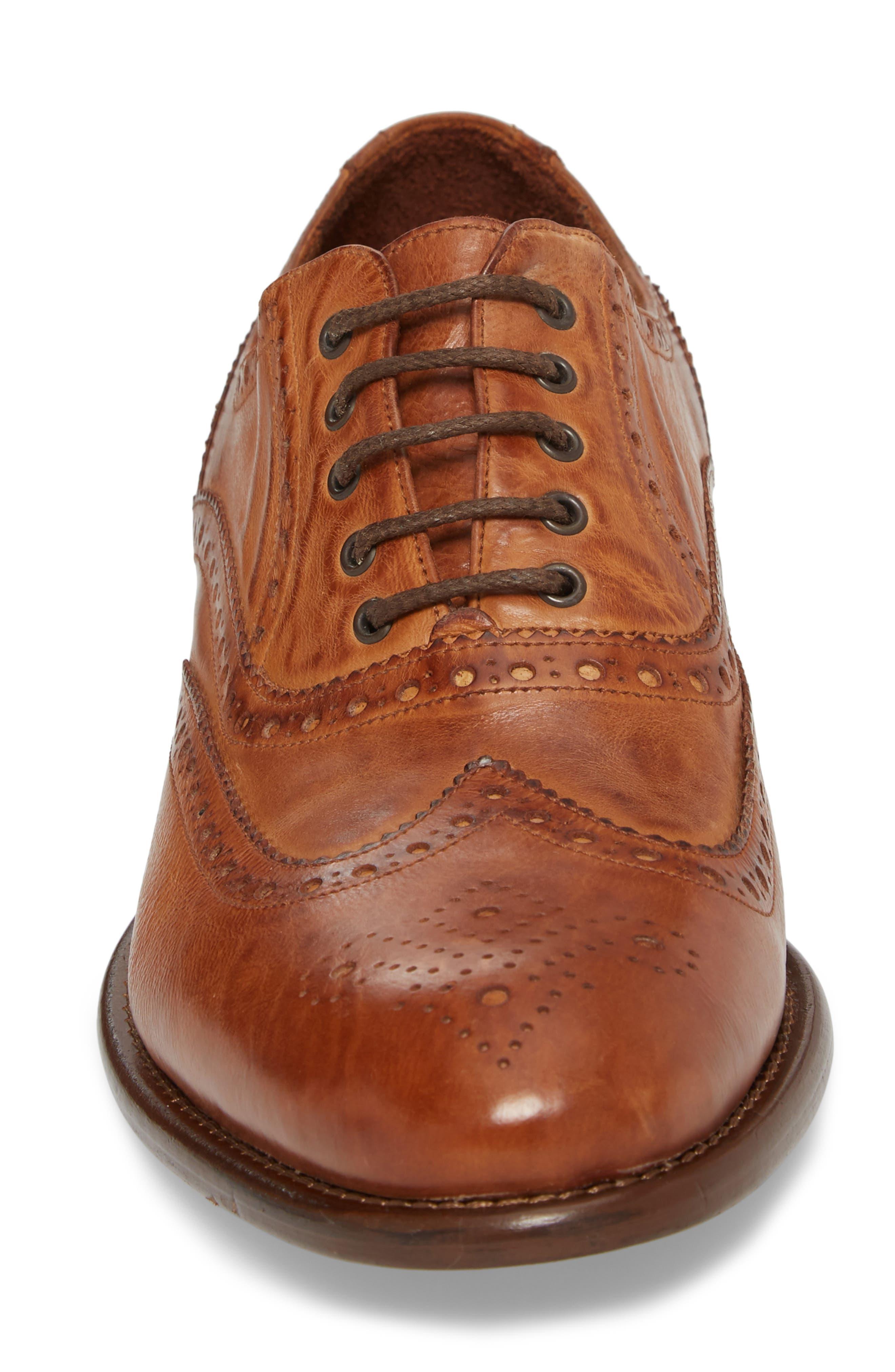 Bryson Wingtip Oxford,                             Alternate thumbnail 4, color,                             Cognac Leather