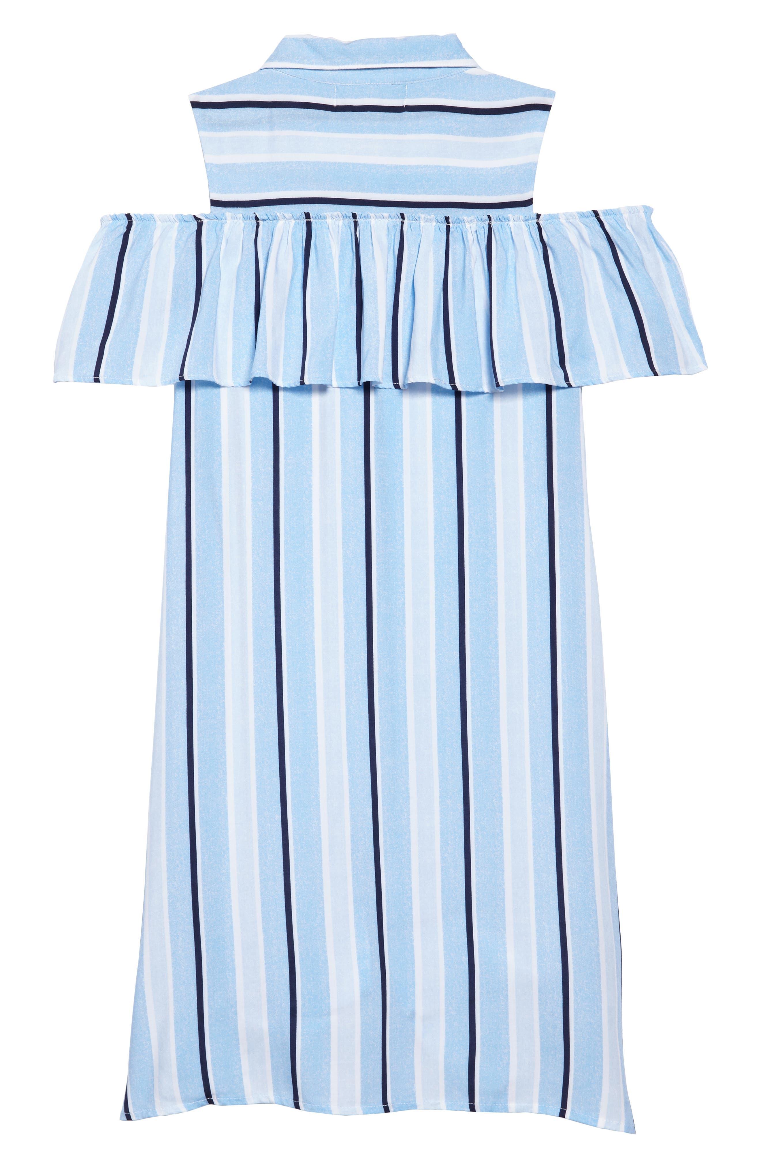 Cold Shoulder Knit Shirtdress,                             Alternate thumbnail 2, color,                             Light Blue/ White