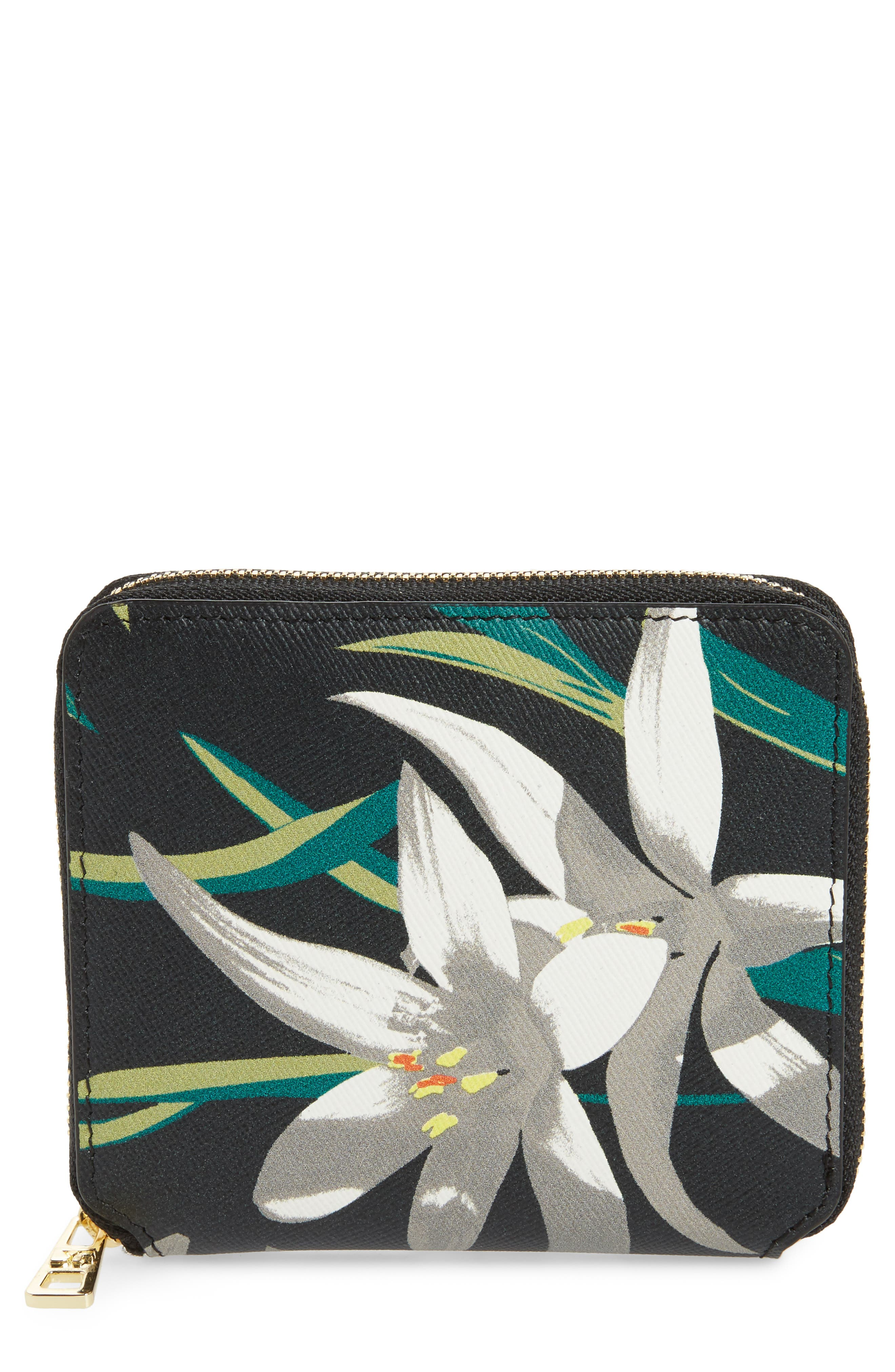 Small Leather Zip Wallet,                             Main thumbnail 1, color,                             Harlow Black
