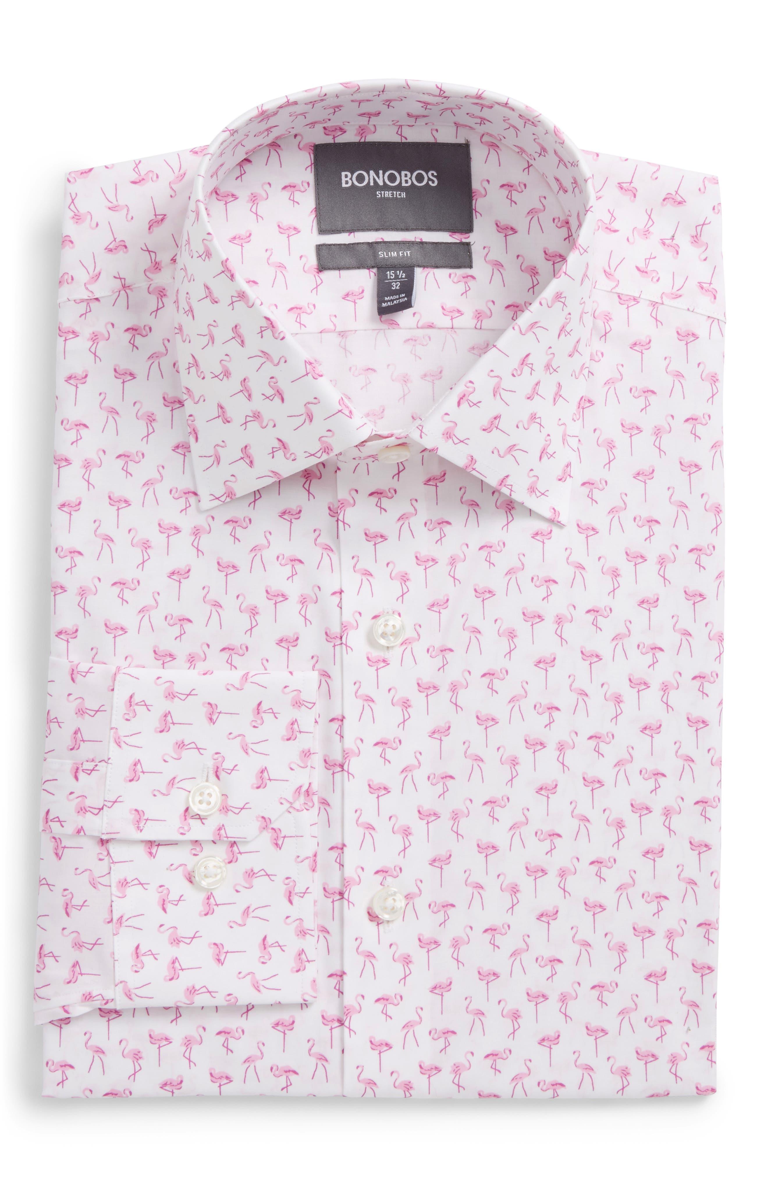 Slim Fit Stretch Flamingo Print Dress Shirt,                         Main,                         color, Pink