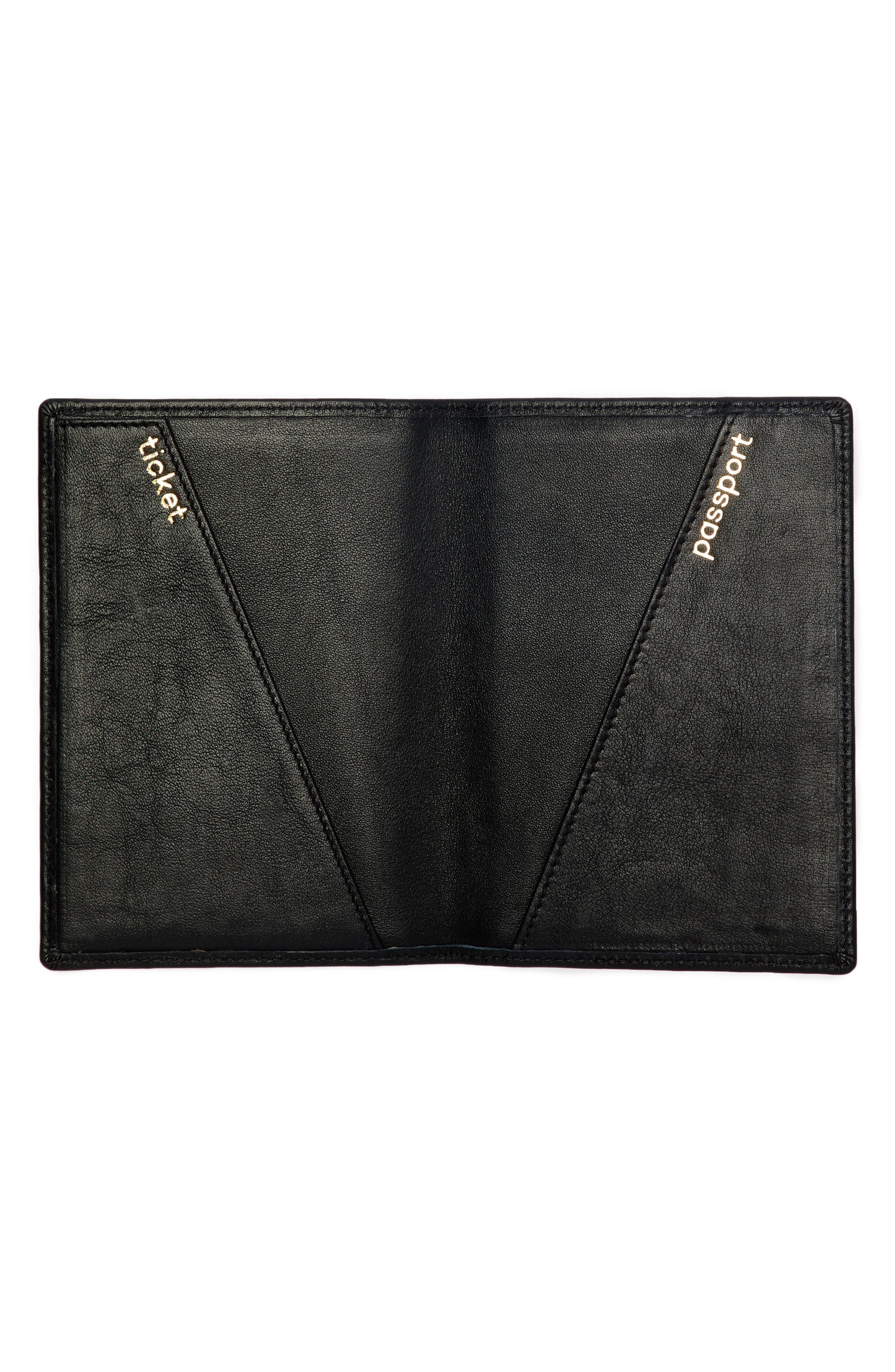 Personalized Leather Passport Case,                             Alternate thumbnail 2, color,                             Noir