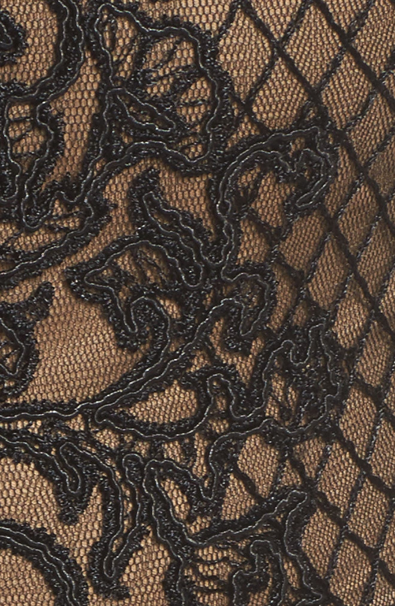 Lace Gown,                             Alternate thumbnail 5, color,                             Black/ Nude