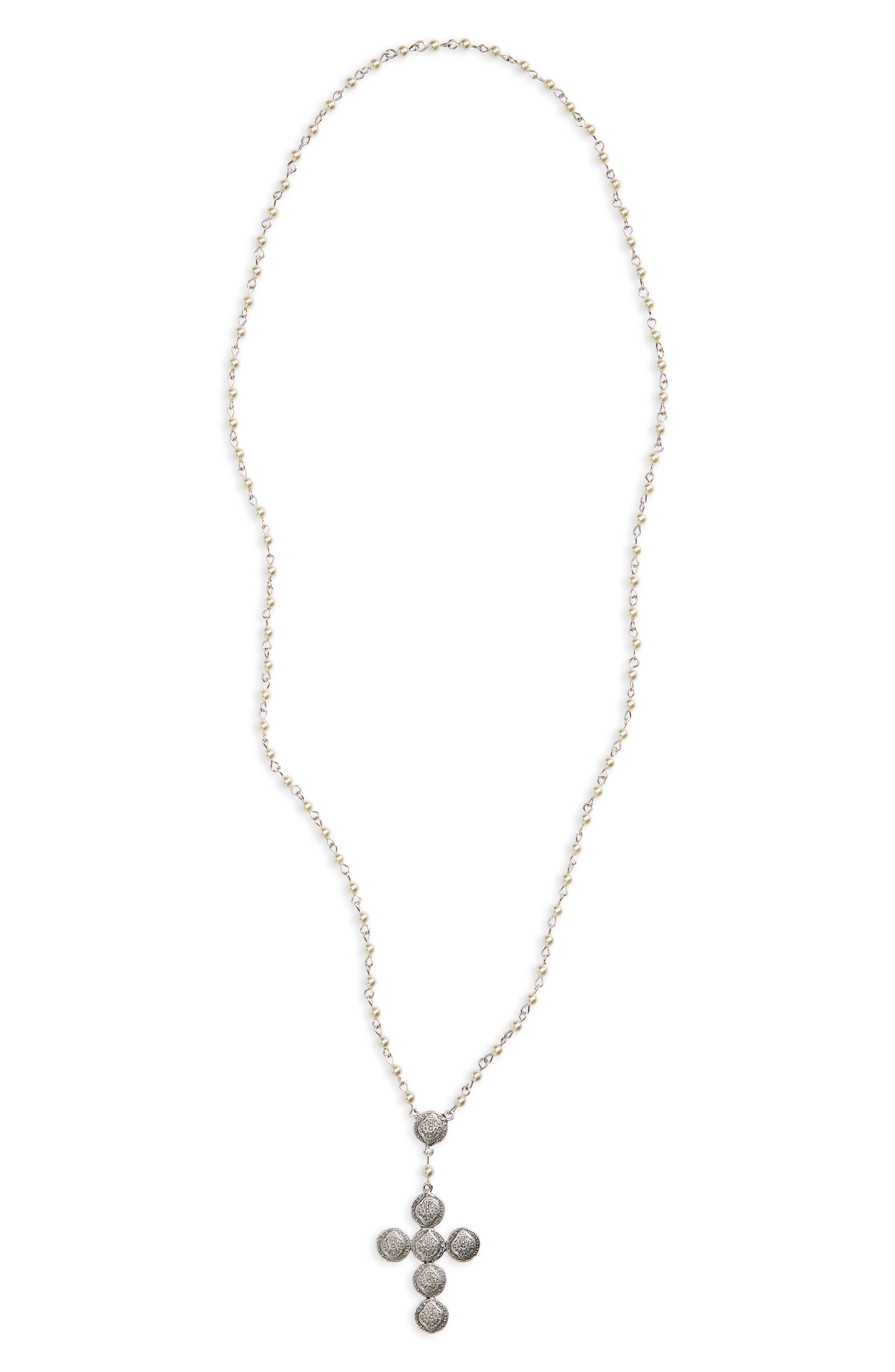 Virgins Saints & Angles Sevilla Contessa Rosary Necklace,                         Main,                         color, Cream/ Pearl