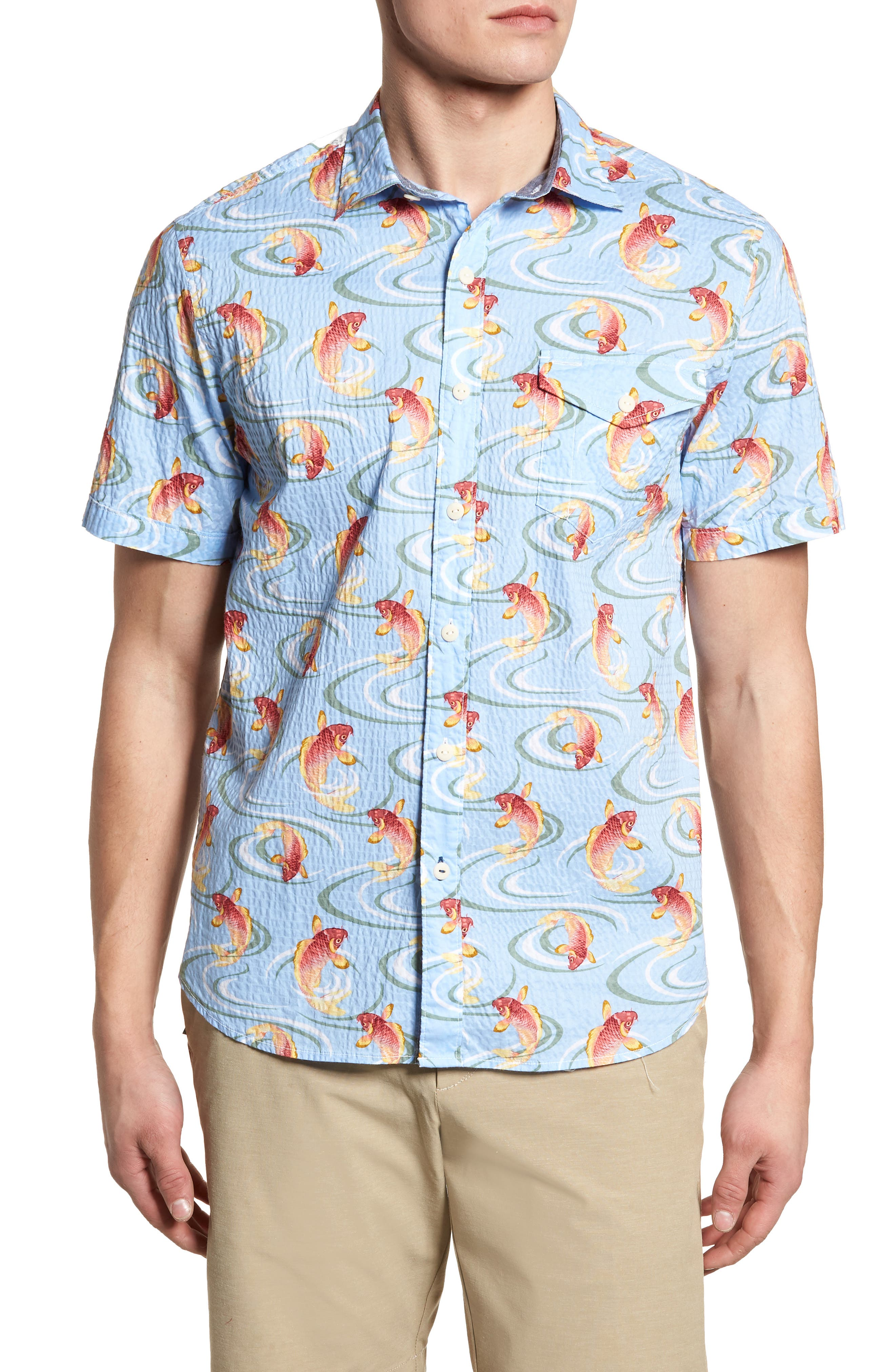 The Kois of Summer Regular Fit Camp Shirt,                         Main,                         color, Light Sky