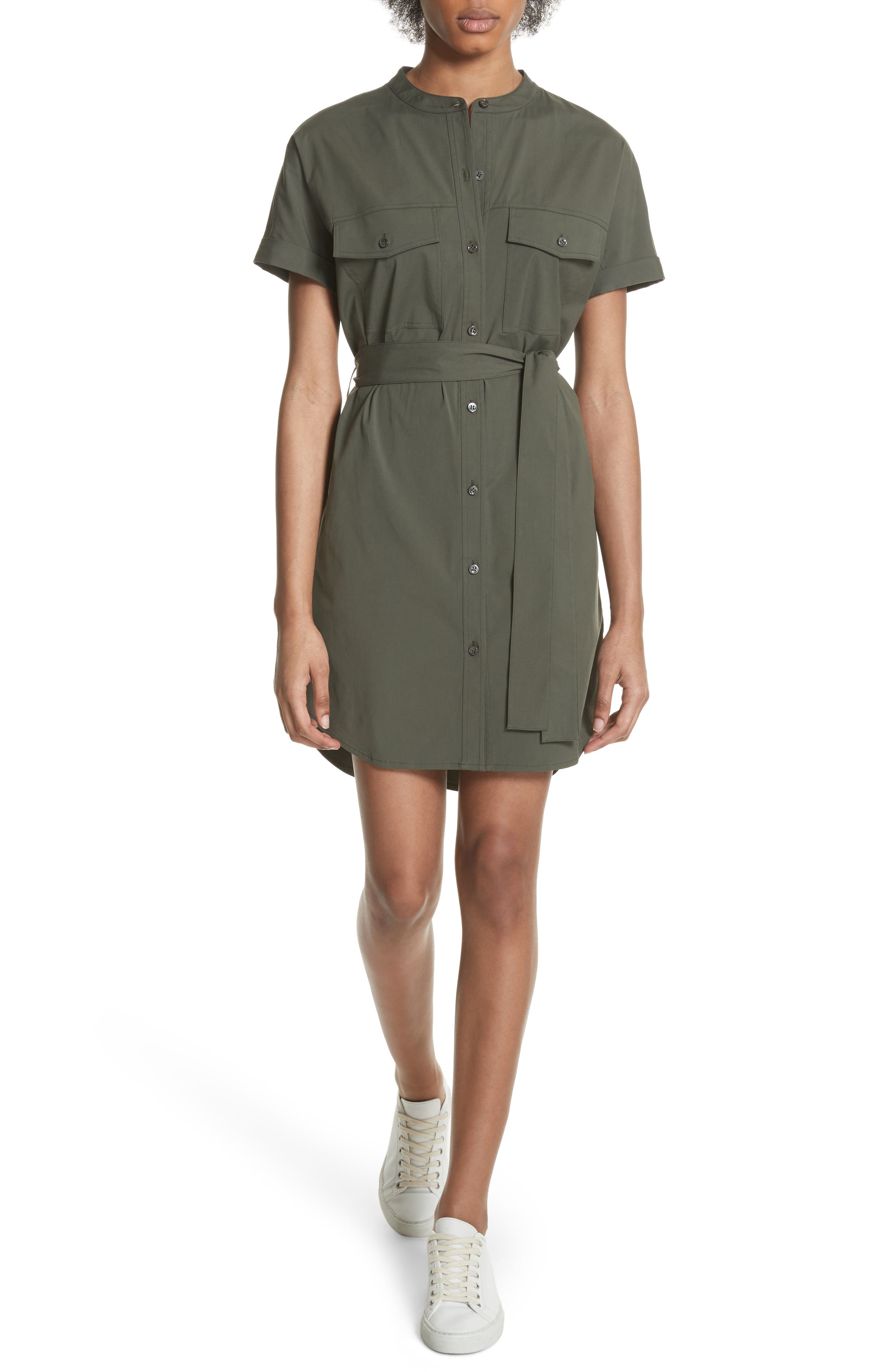 Stretch Cotton Cargo Dress,                         Main,                         color, Wig Bright Faded Army