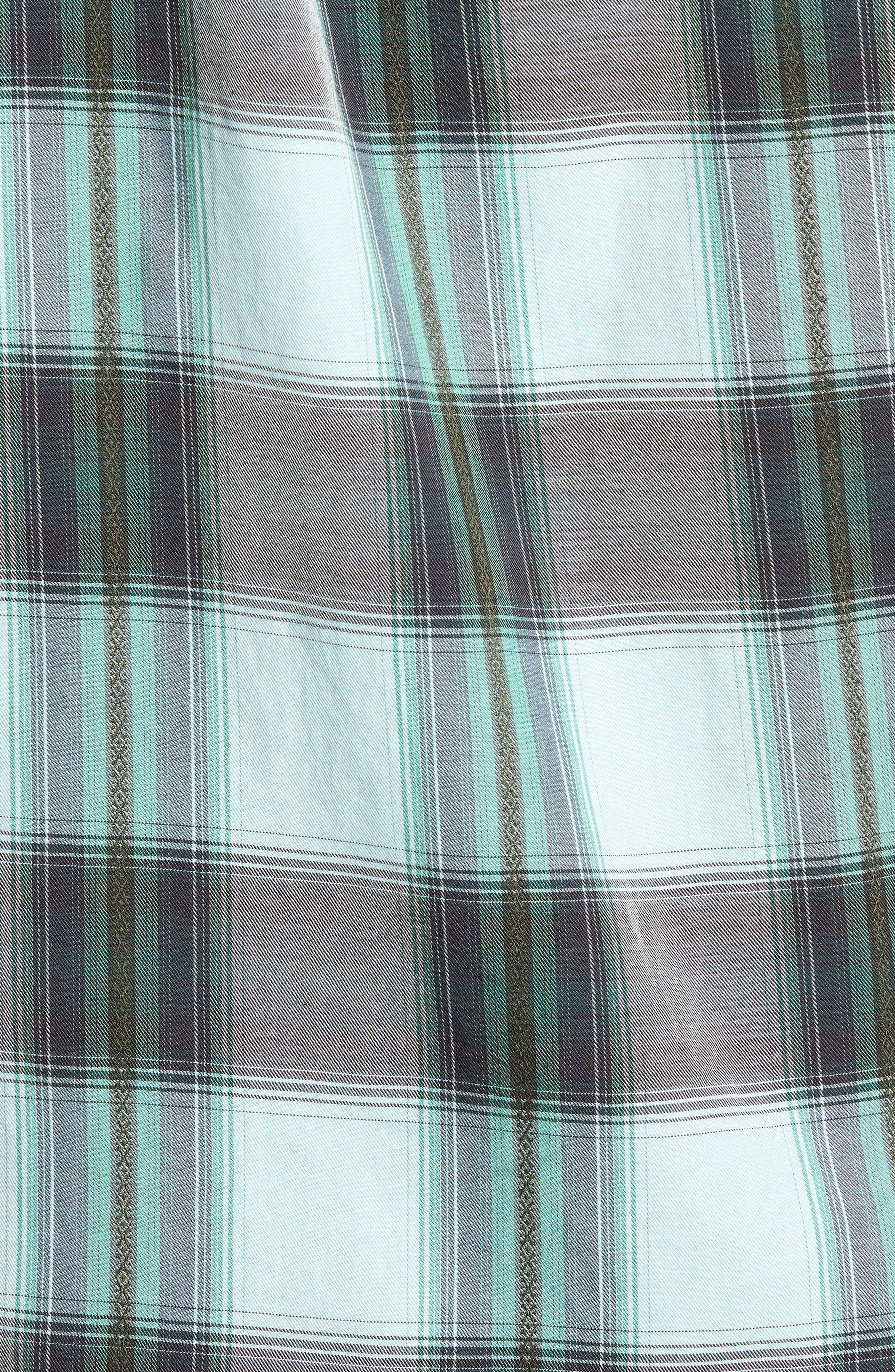 Biscayne Plaid Regular Fit Sport Shirt,                             Alternate thumbnail 5, color,                             Aqua Mist