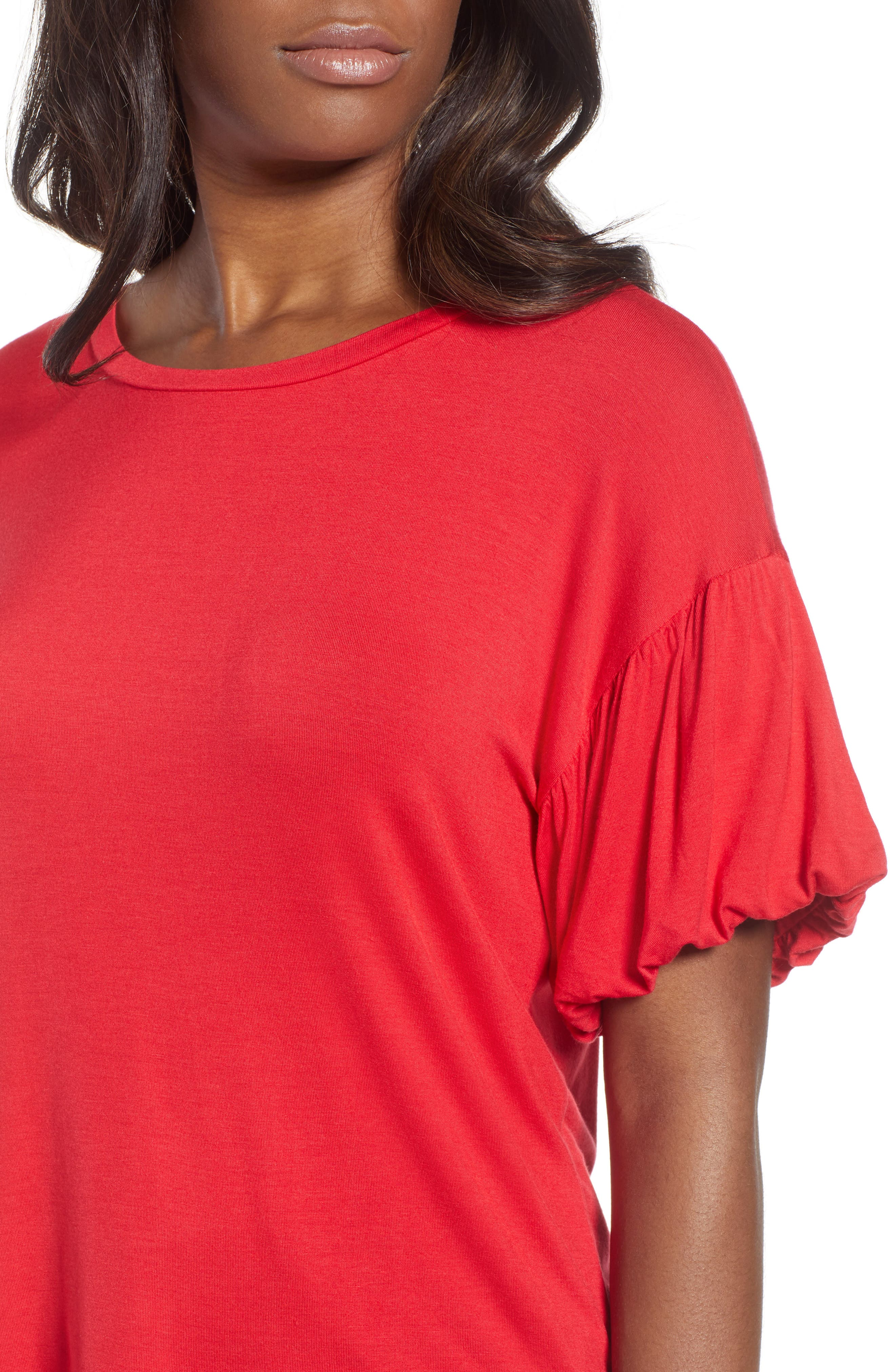 Knit Bubble Sleeve Tee,                             Alternate thumbnail 4, color,                             Red Lipstick