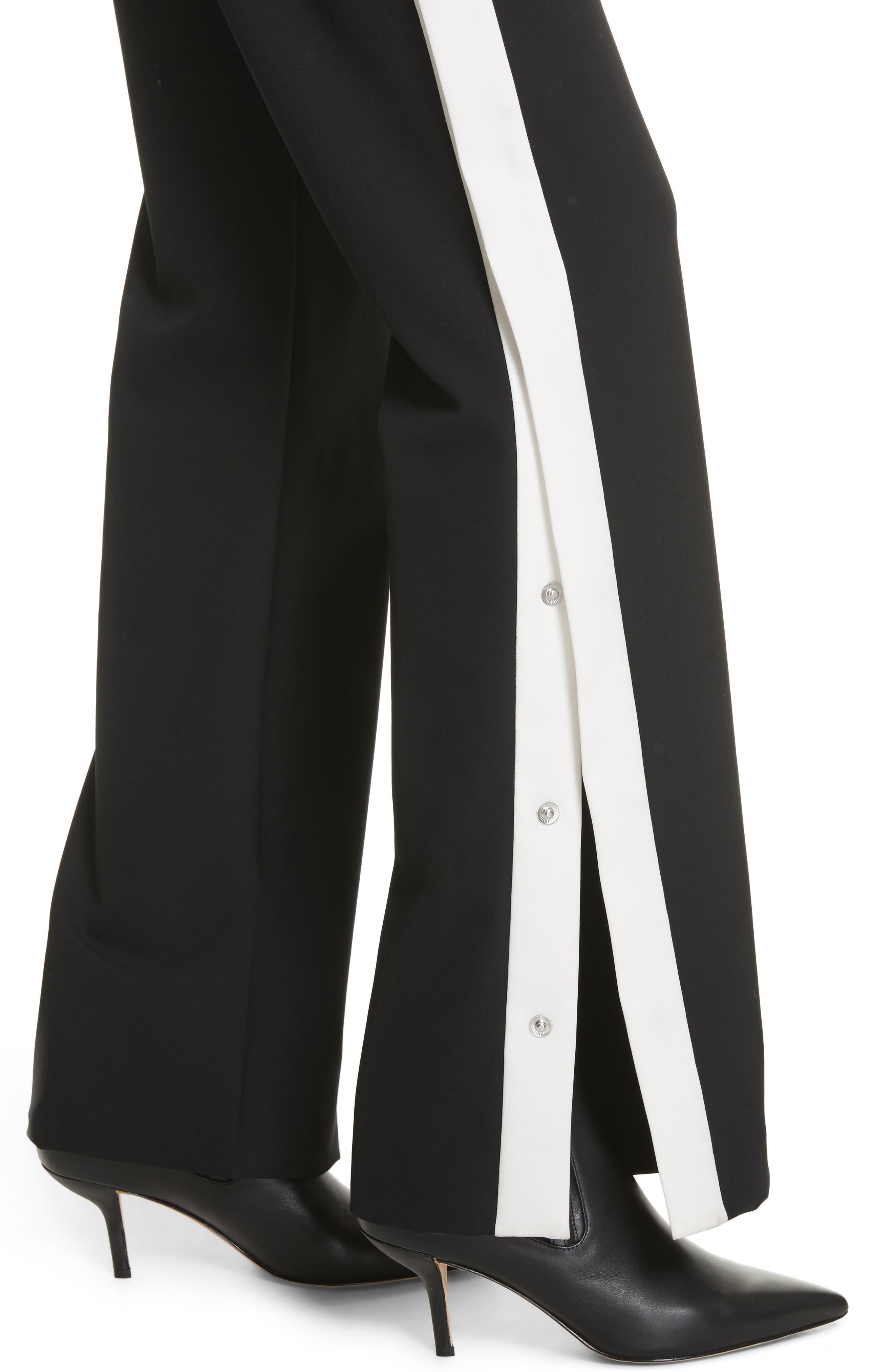 Snap Side Track Pants,                             Alternate thumbnail 4, color,                             Black/ Ivory