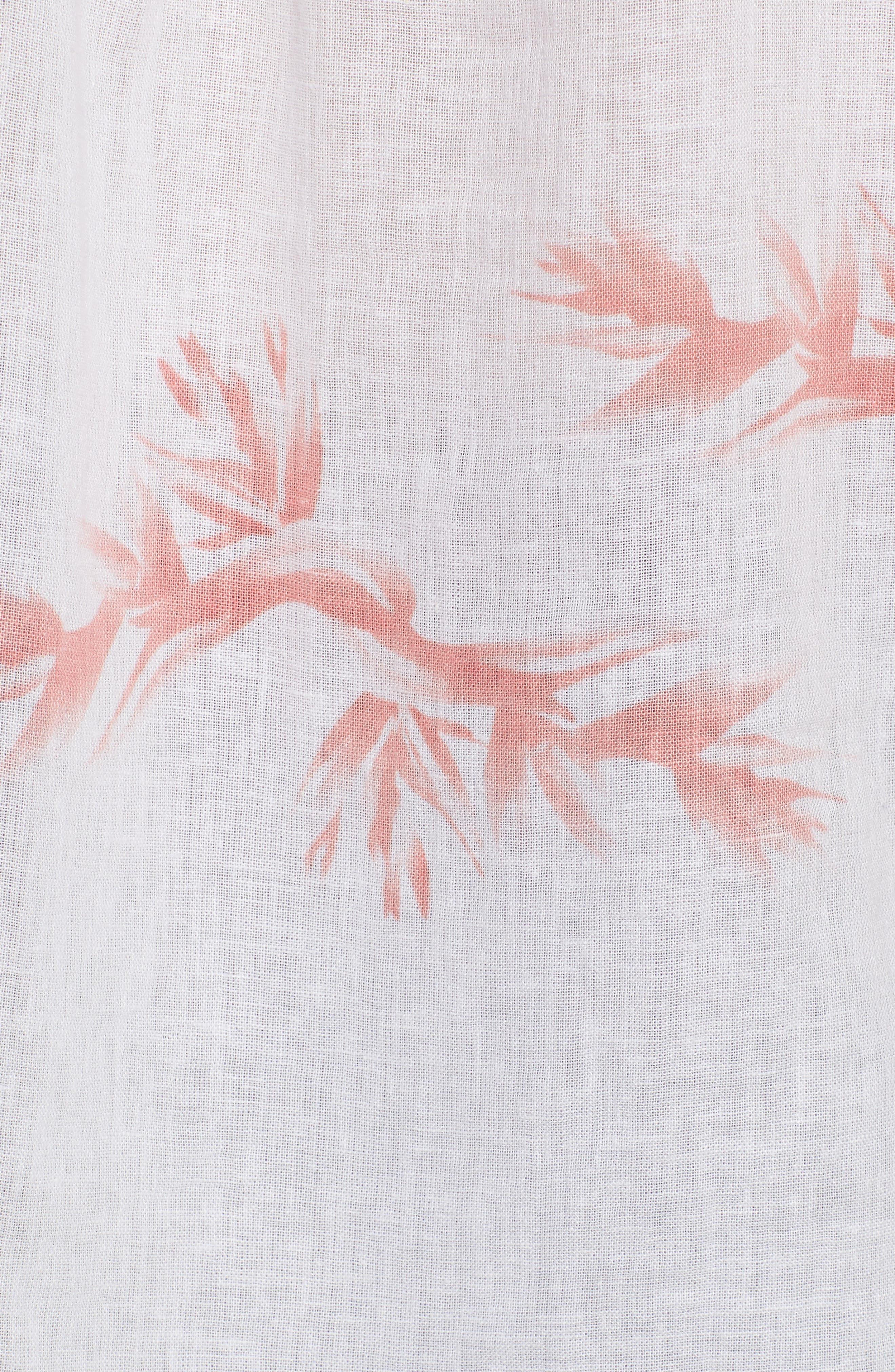 Whitney Birds of Paradise Linen Blend Shirt,                             Alternate thumbnail 6, color,                             Blush Birds Of Paradise